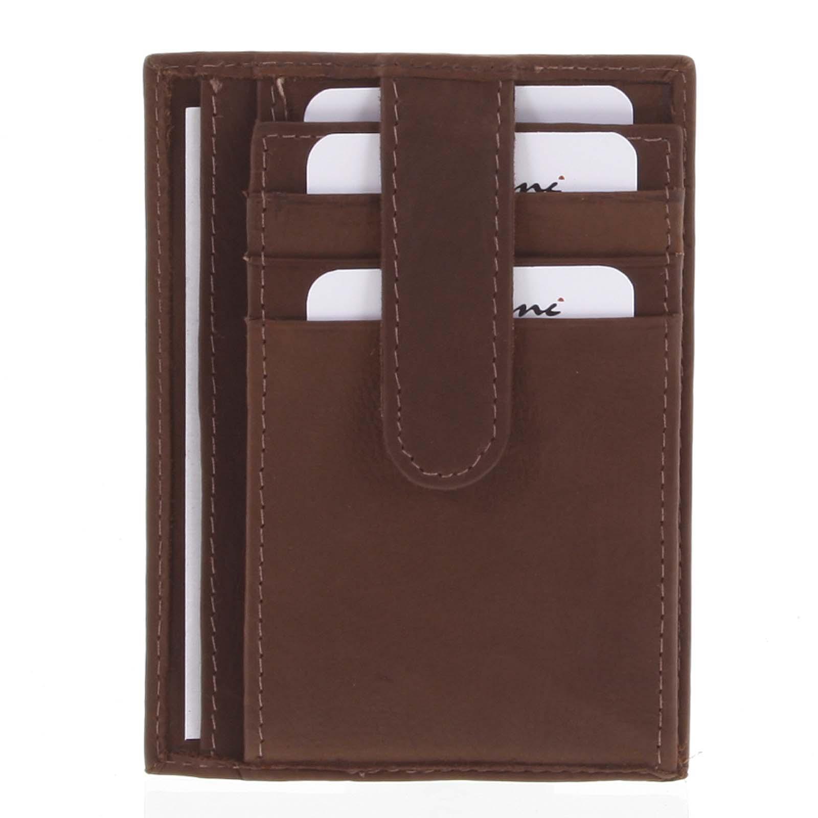 Kožená peňaženka do vrecka hnedá - Delami 3939