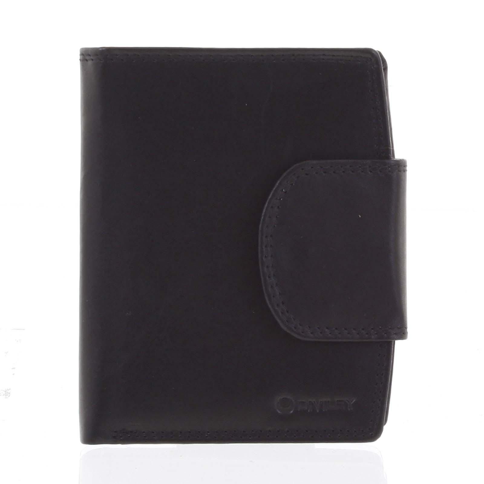 Elegantná čierna kožená peňaženka so zápinkou - Diviley Universit