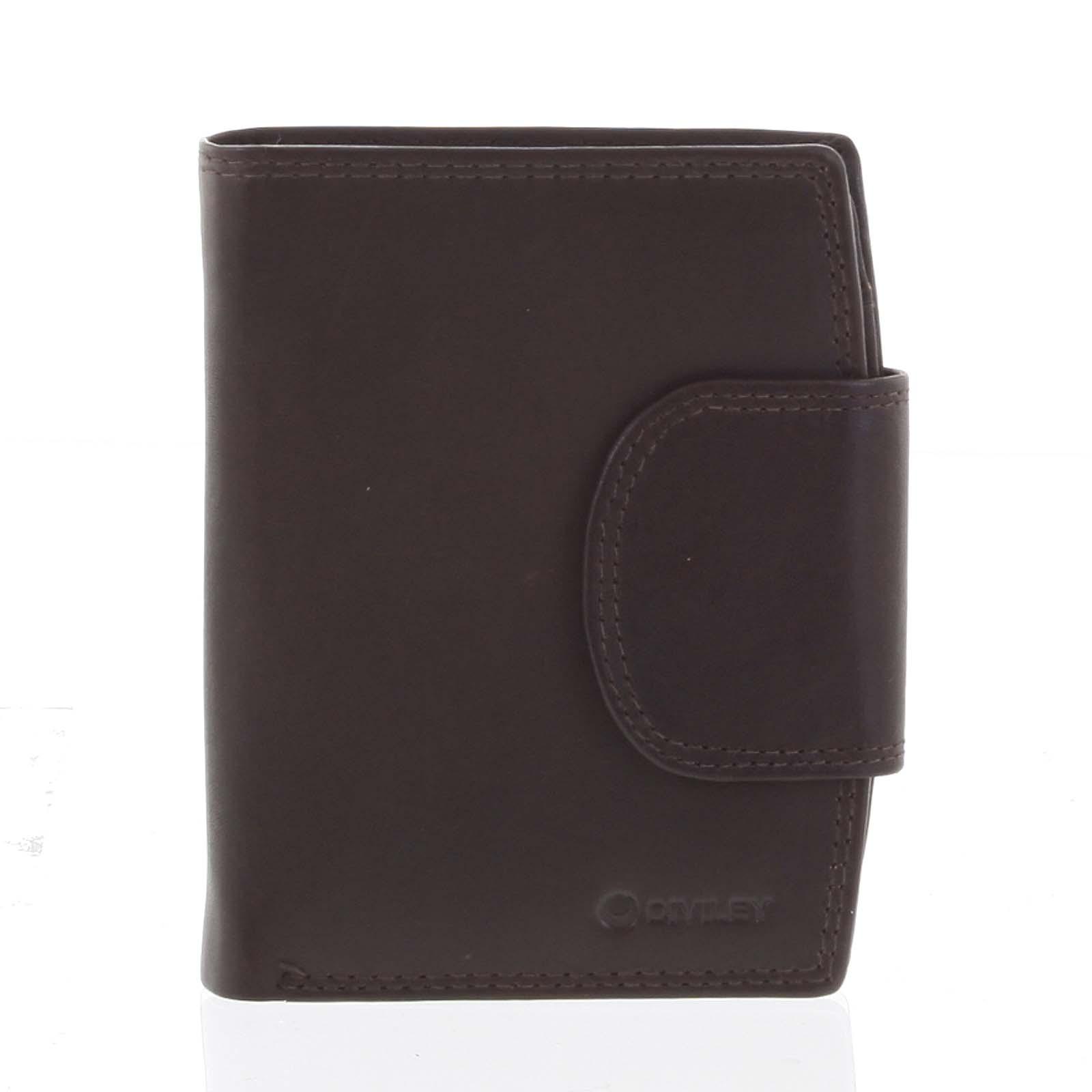 Elegantná hnedá kožená peňaženka so zápinkou - Diviley Universit