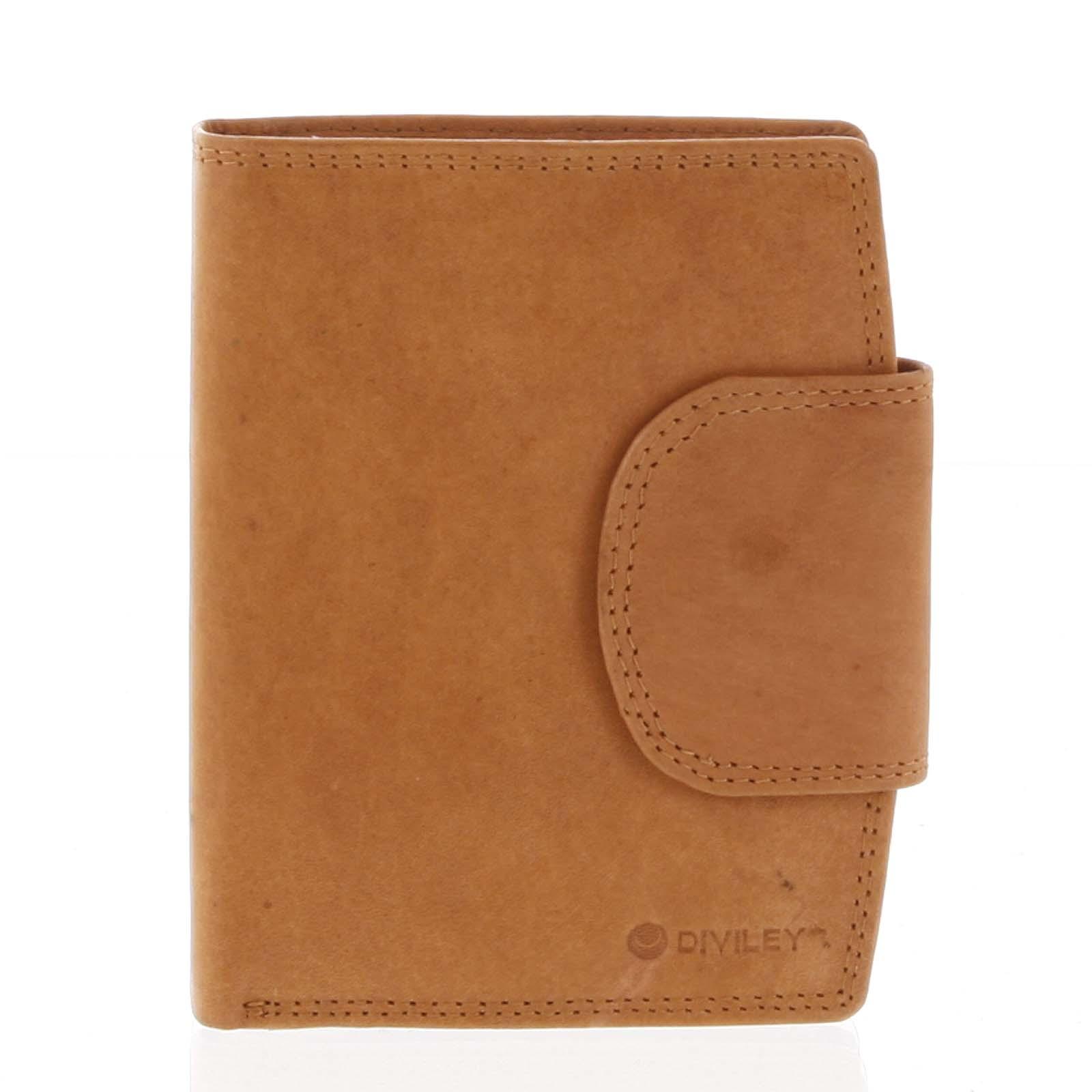 Elegantná koňaková kožená peňaženka so zápinkou - Diviley Universit