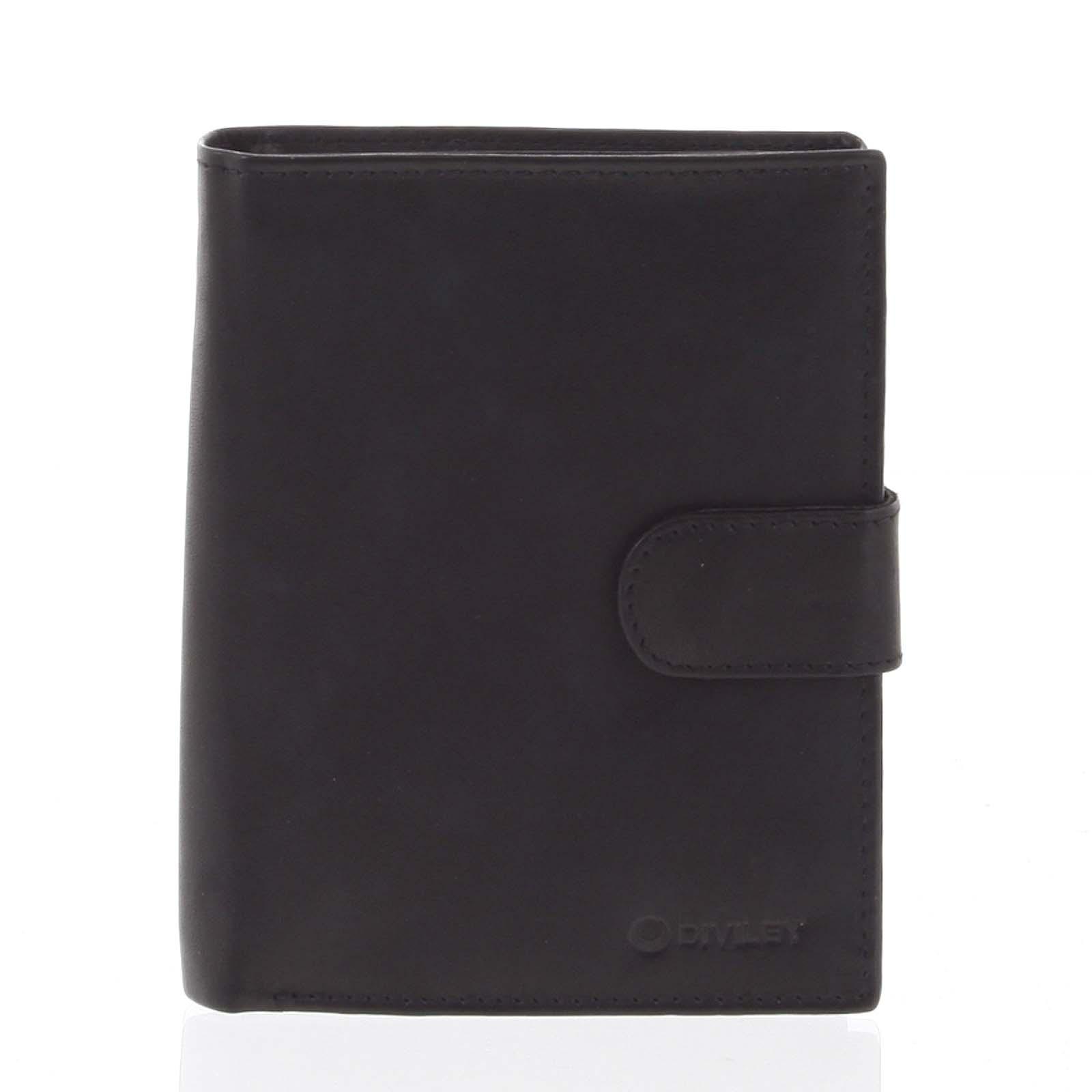 Väčšia pánska čierna kožená peňaženka so zápinkou - Diviley Heelal