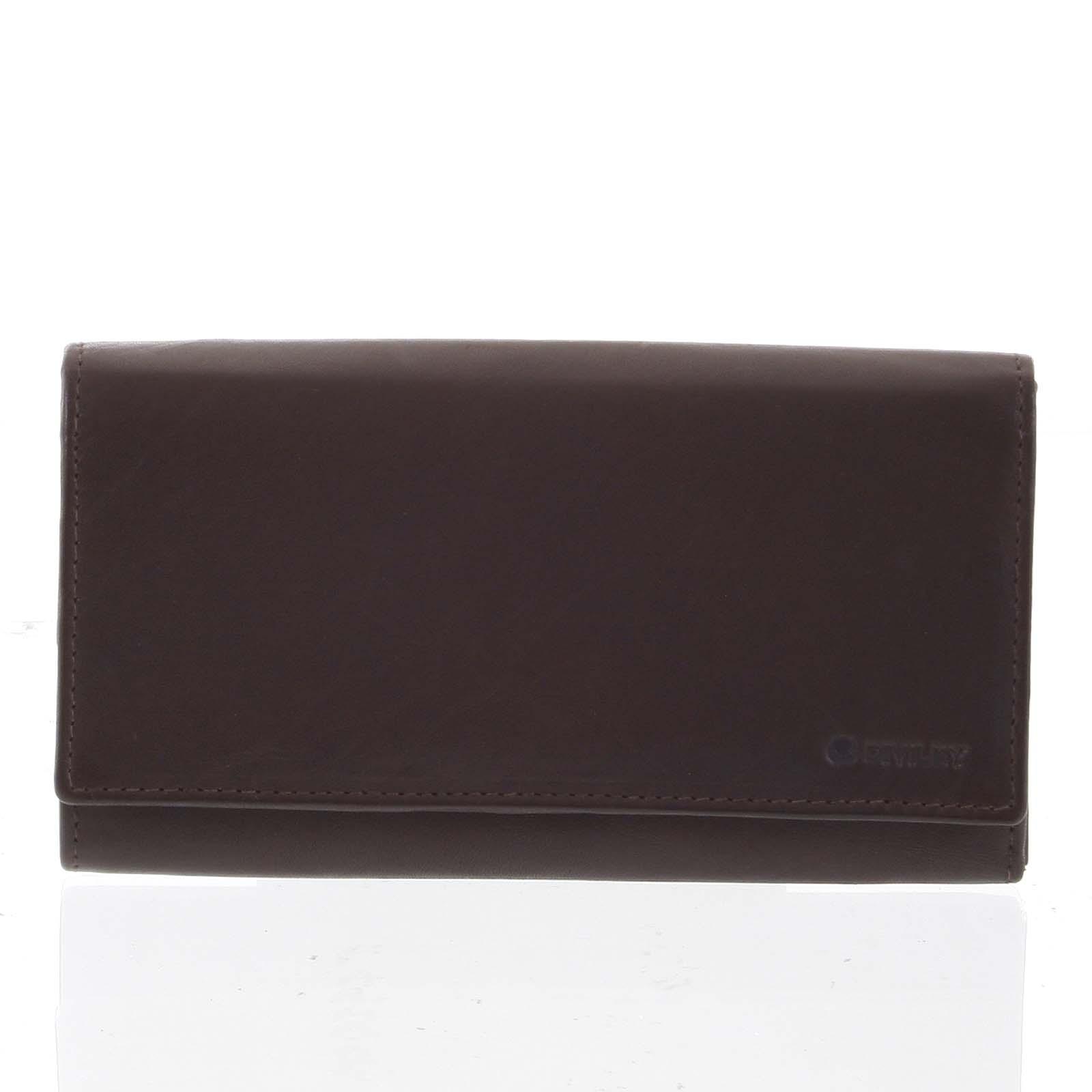 Dámska klasická hnedá kožená peňaženka - Diviley Uniberso