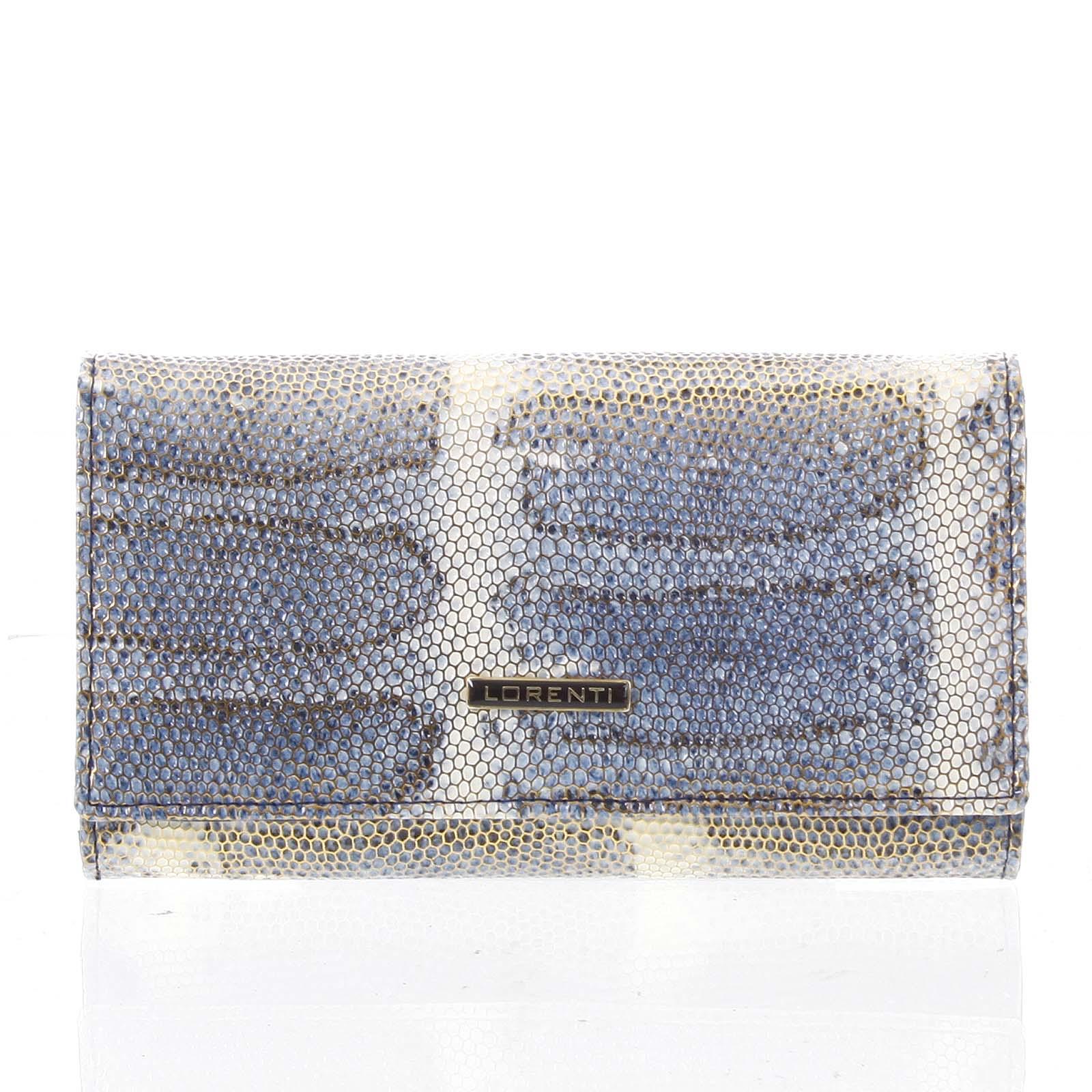 Luxusná hadí kožená modrá peňaženka s odleskom - Lorenti 114SH