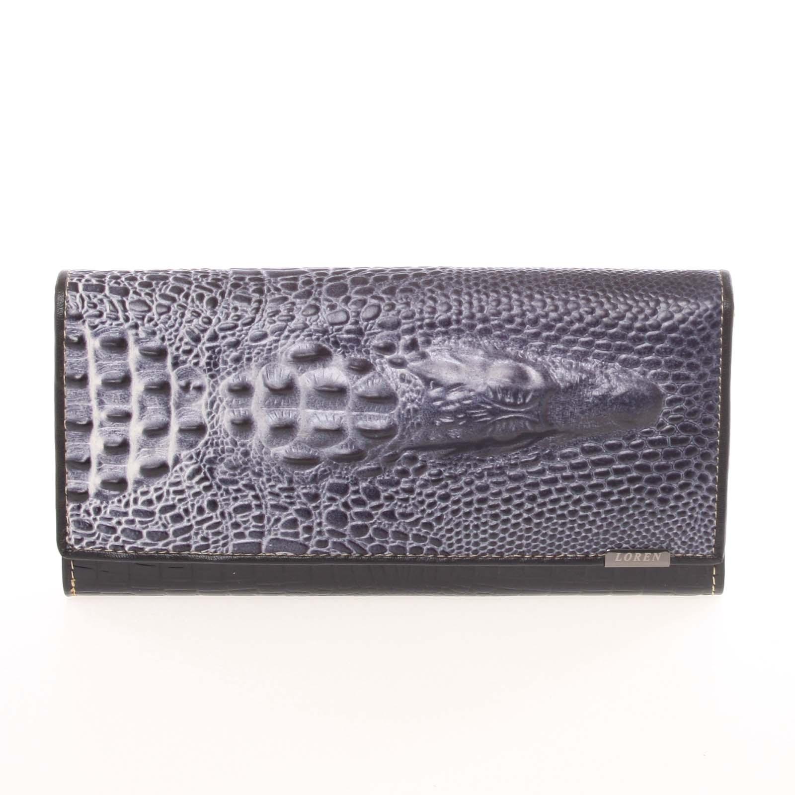 Jedinečná čierna pololakovaná peňaženka - Loren Croko