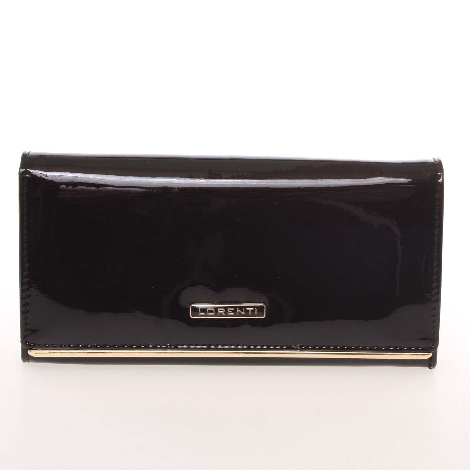 Luxusná lakovaná kožená čierna peňaženka - Lorenti 64003SH