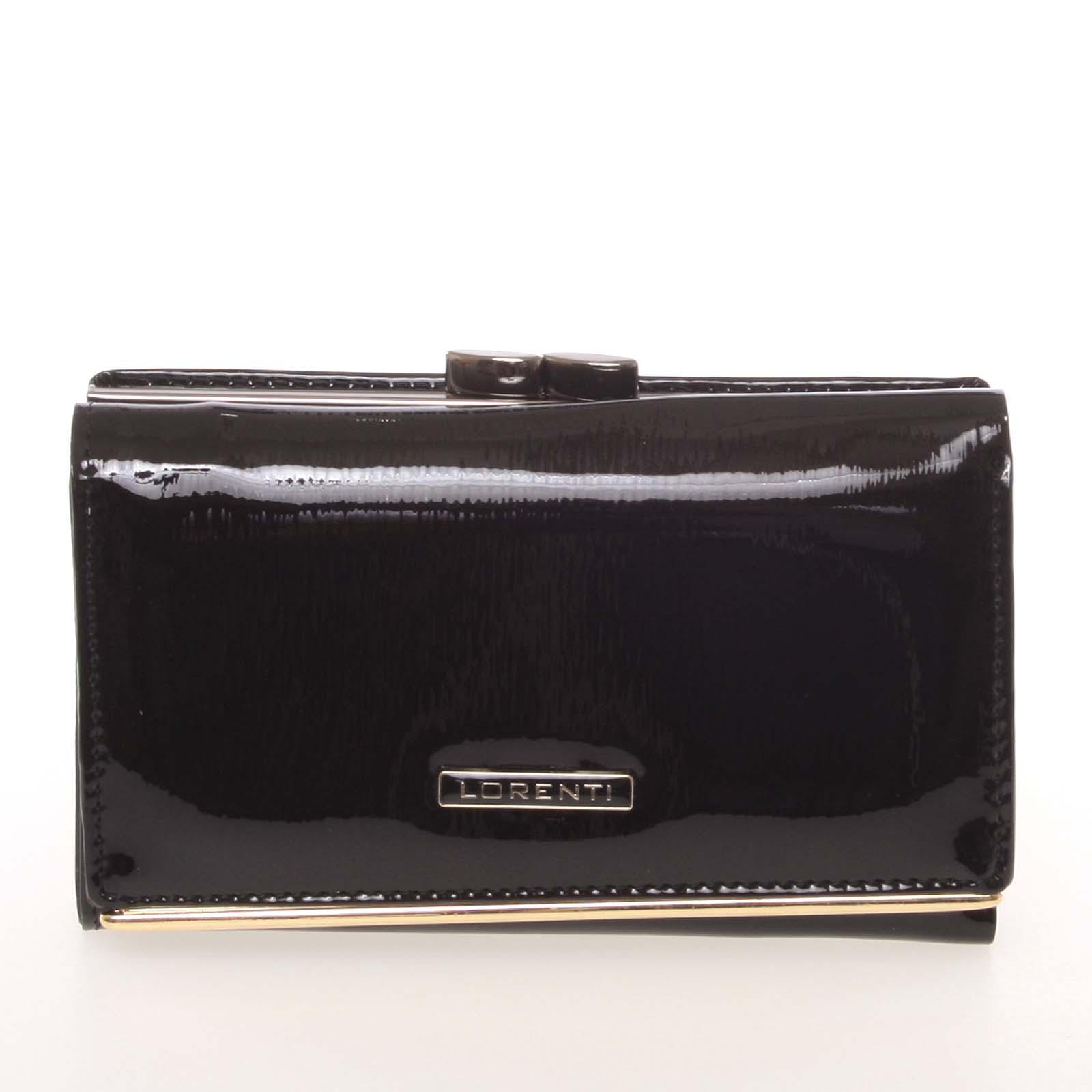 Jedinečná dámska lakovaná kožená peňaženka čierna - Lorenti 55020SH
