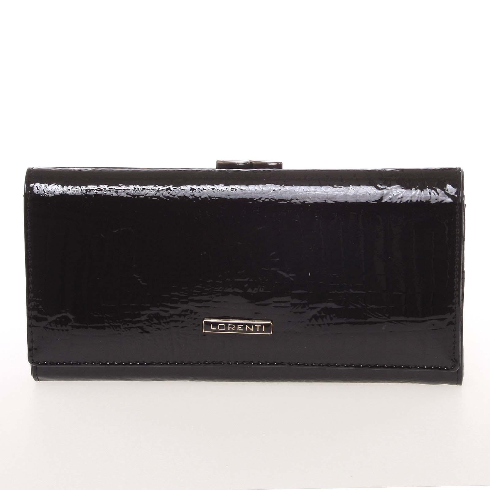 Lakovaná kožená čierna peňaženka s jemným vzorom - Lorenti 72031RSBF