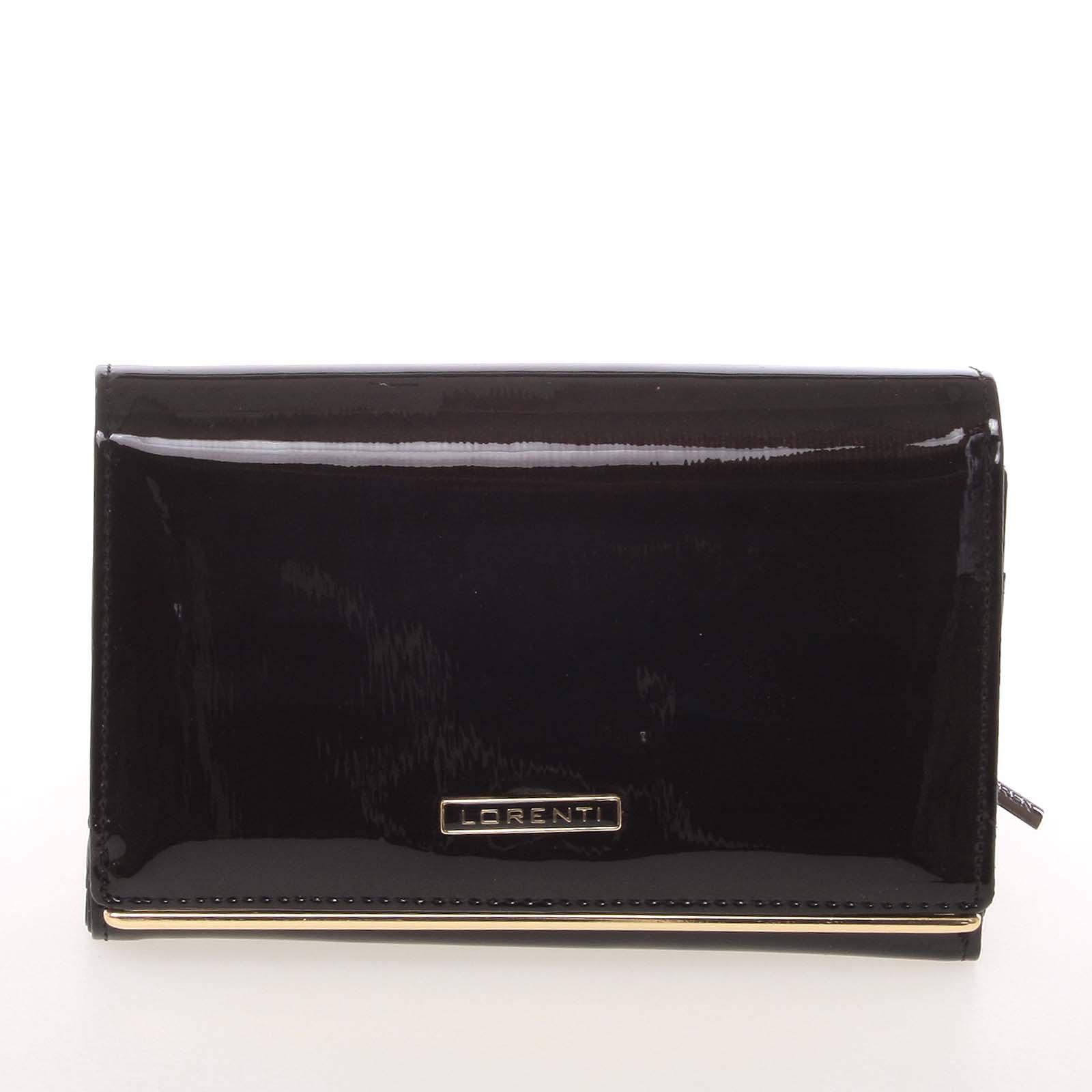 Luxusná kožená lakovaná čierna peňaženka - Lorenti 4112SH