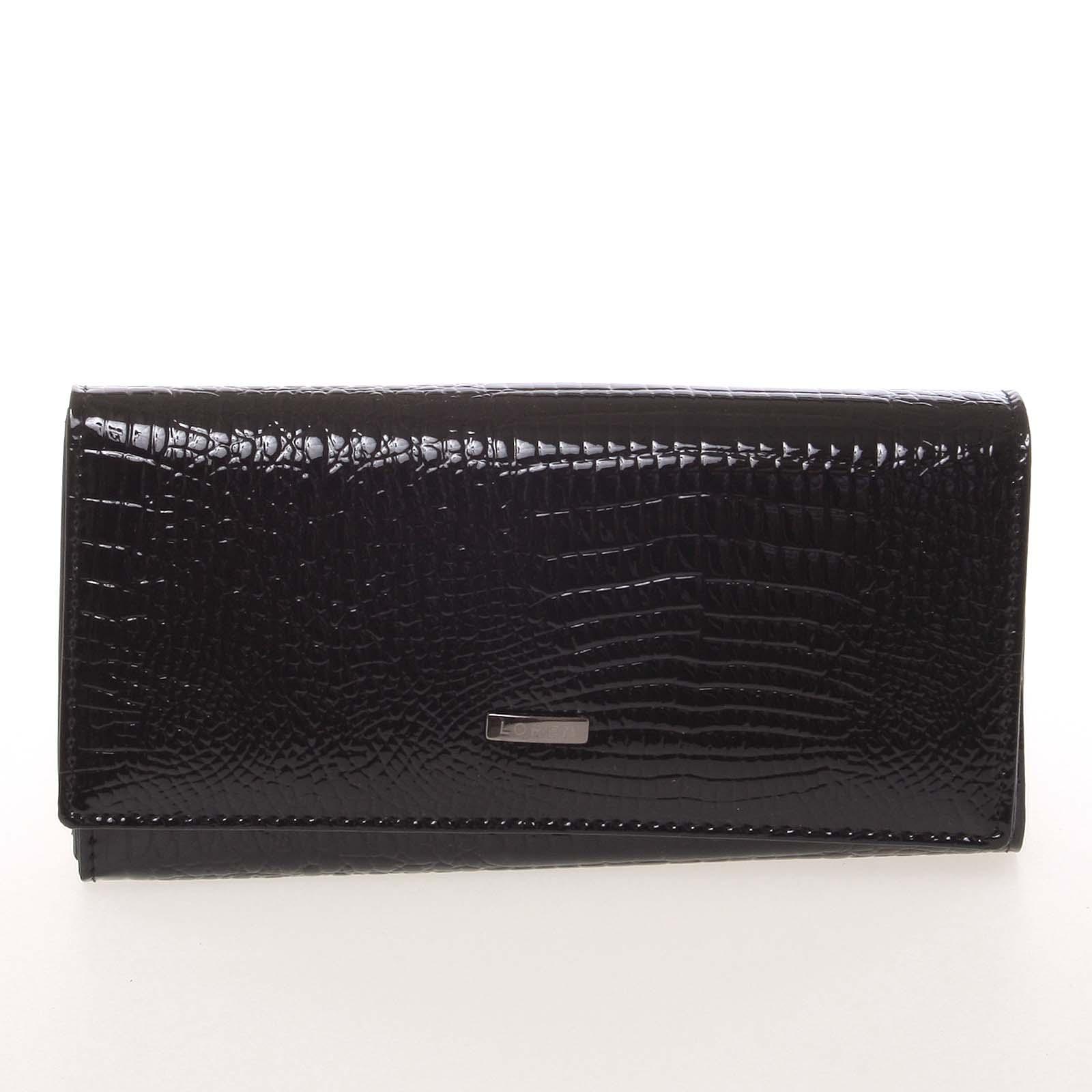 Elegantná lakovaná kožená čierna peňaženka - Loren 64003RS