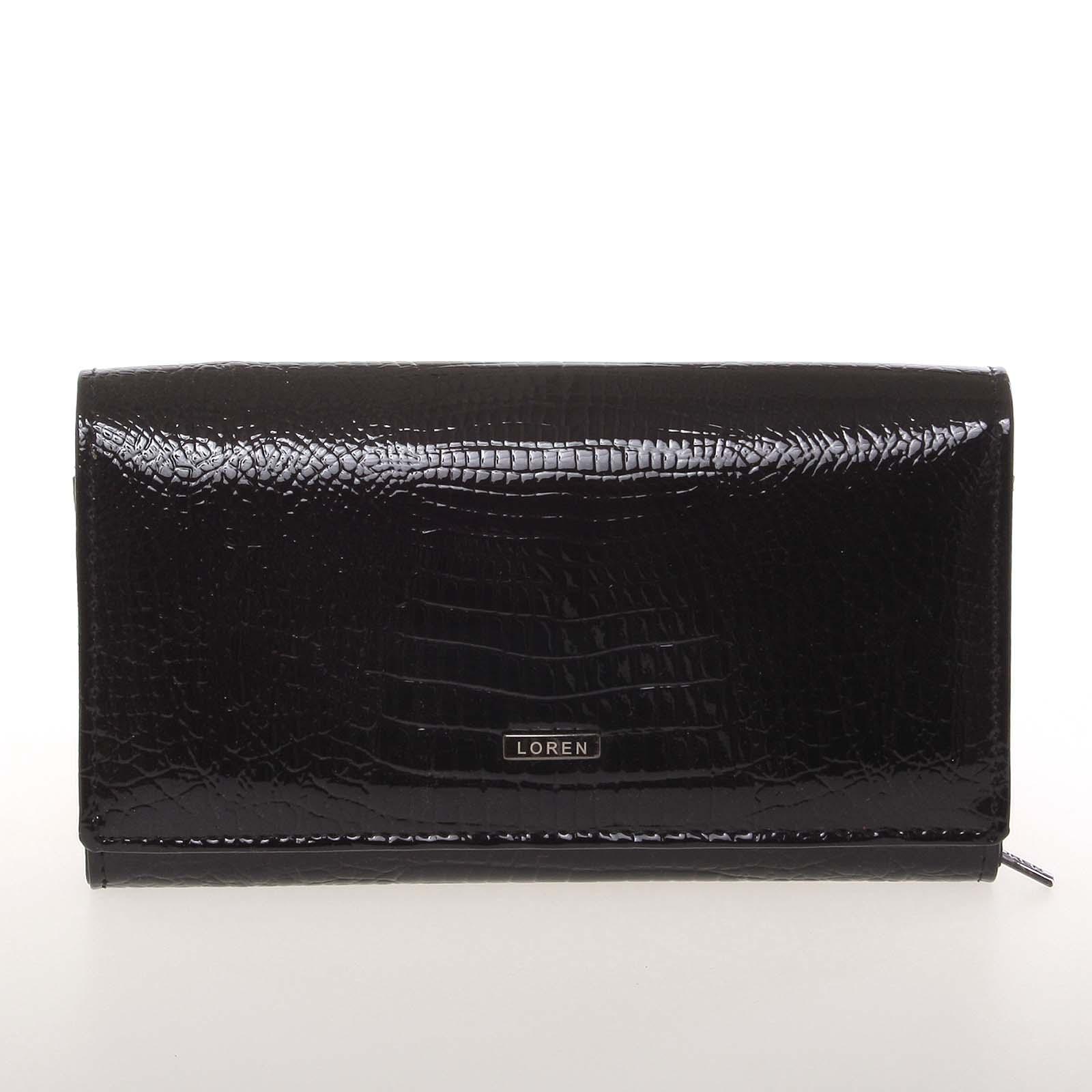 Stredná kožená lakovaná dámska peňaženka čierna - Loren 72035RS