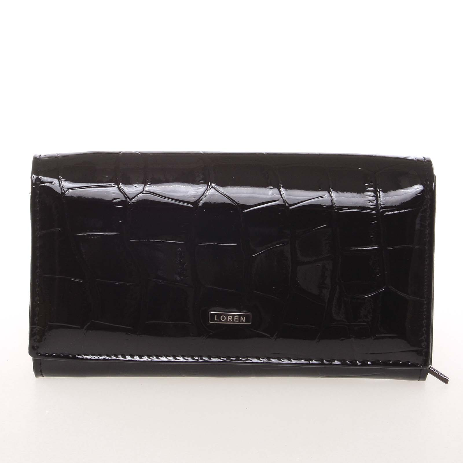 Kožená lakovaná dámska čierna peňaženka v imitácii krokodílej kože - Loren 72035CB