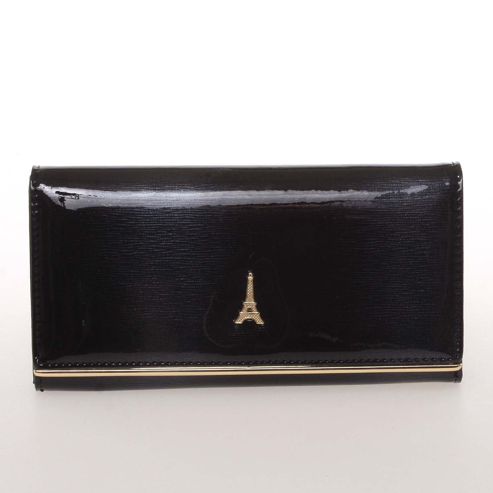 Jedinečná kožená lakovaná dámska peňaženka čierna - PARIS 64003DSHK