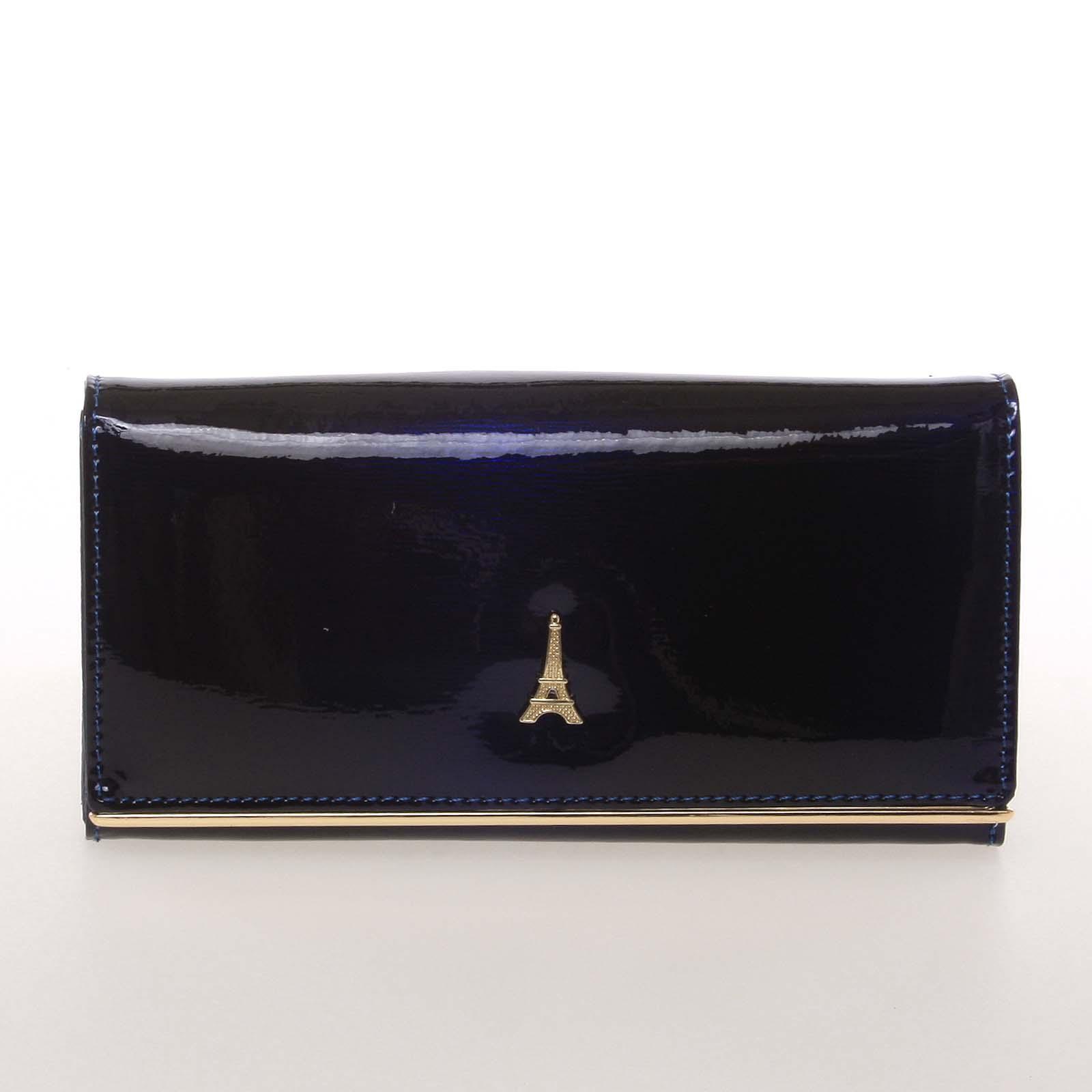 Jedinečná kožená lakovaná dámska peňaženka modrá - PARIS 64003DSHK