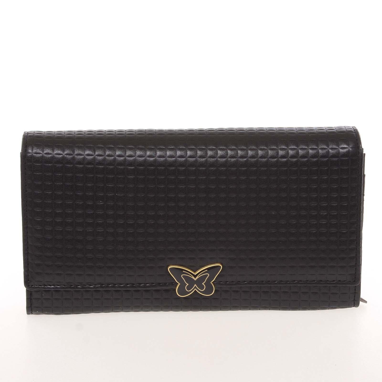 Elegantná dámska polokožená čierna peňaženka - Cavaldi PX202