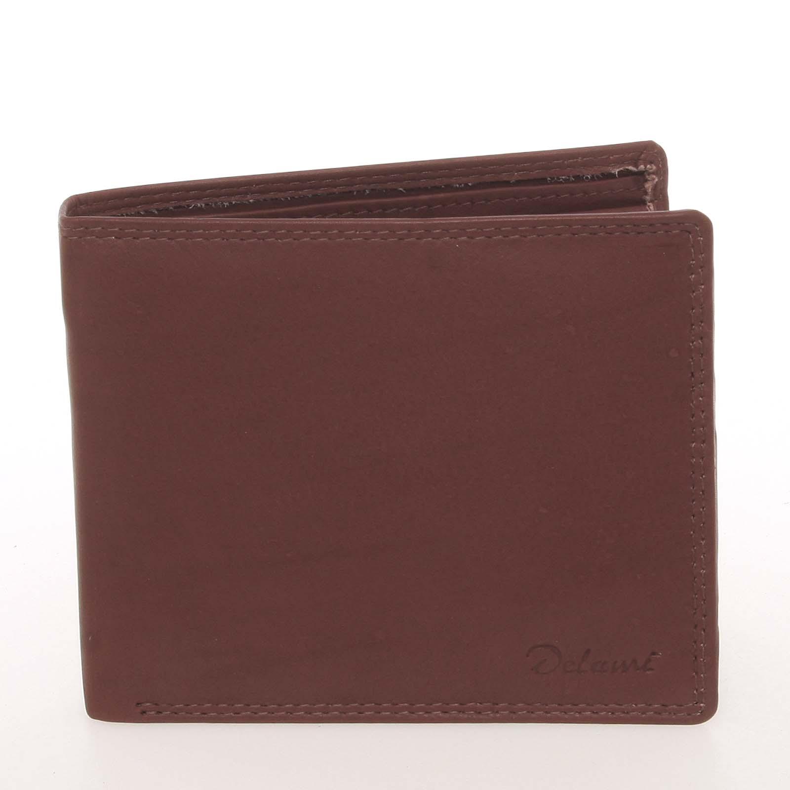 Elegantná pánska kožená hnedá peňaženka - Delami Kerman