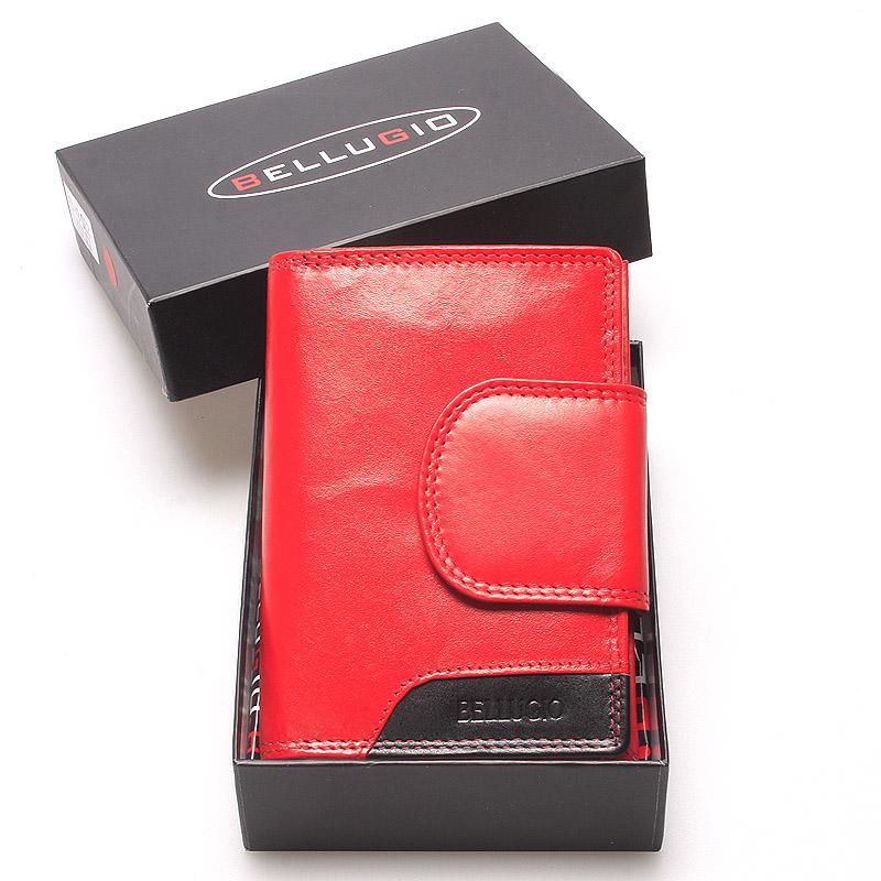 Stredne veľká dámska kožená peňaženka červená - Bellugio Calla