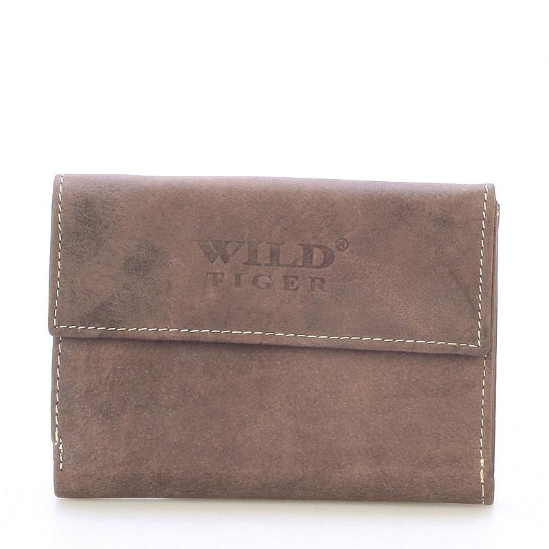 Moderná väčšia kožená peňaženka tmavohnedá - WILD Hades