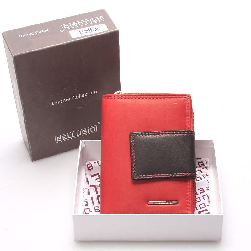 Dámska kožená peňaženka červeno čierna - Bellugio Eurusie