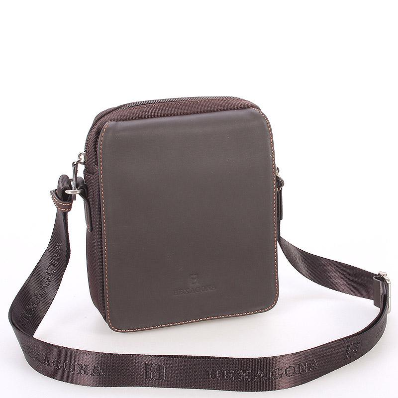 Tmavohnedá kožená pánska taška cez rameno Hexagona 299162