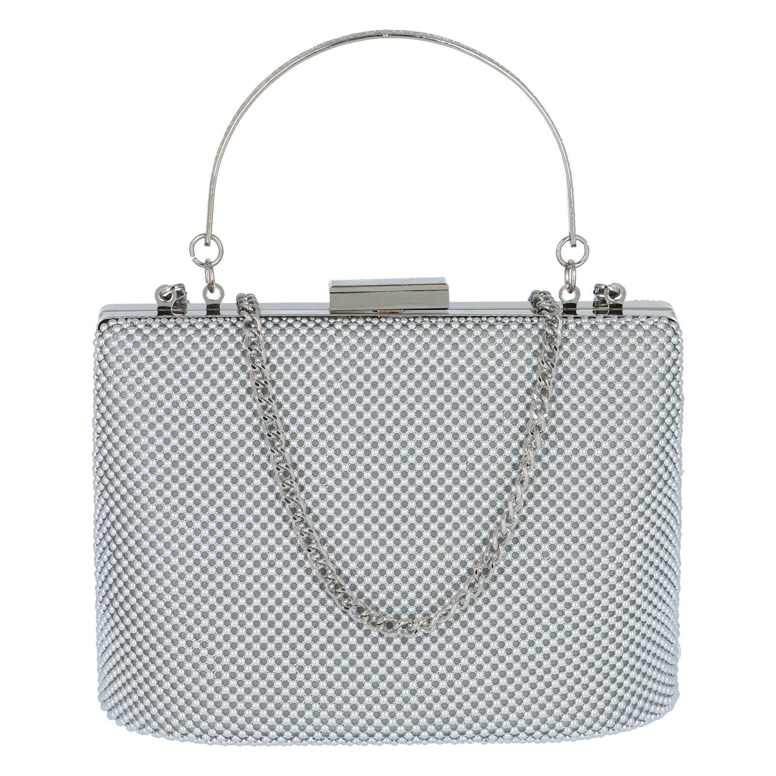 Dámska perleťová listová kabelka strieborná - Michelle Moon V380