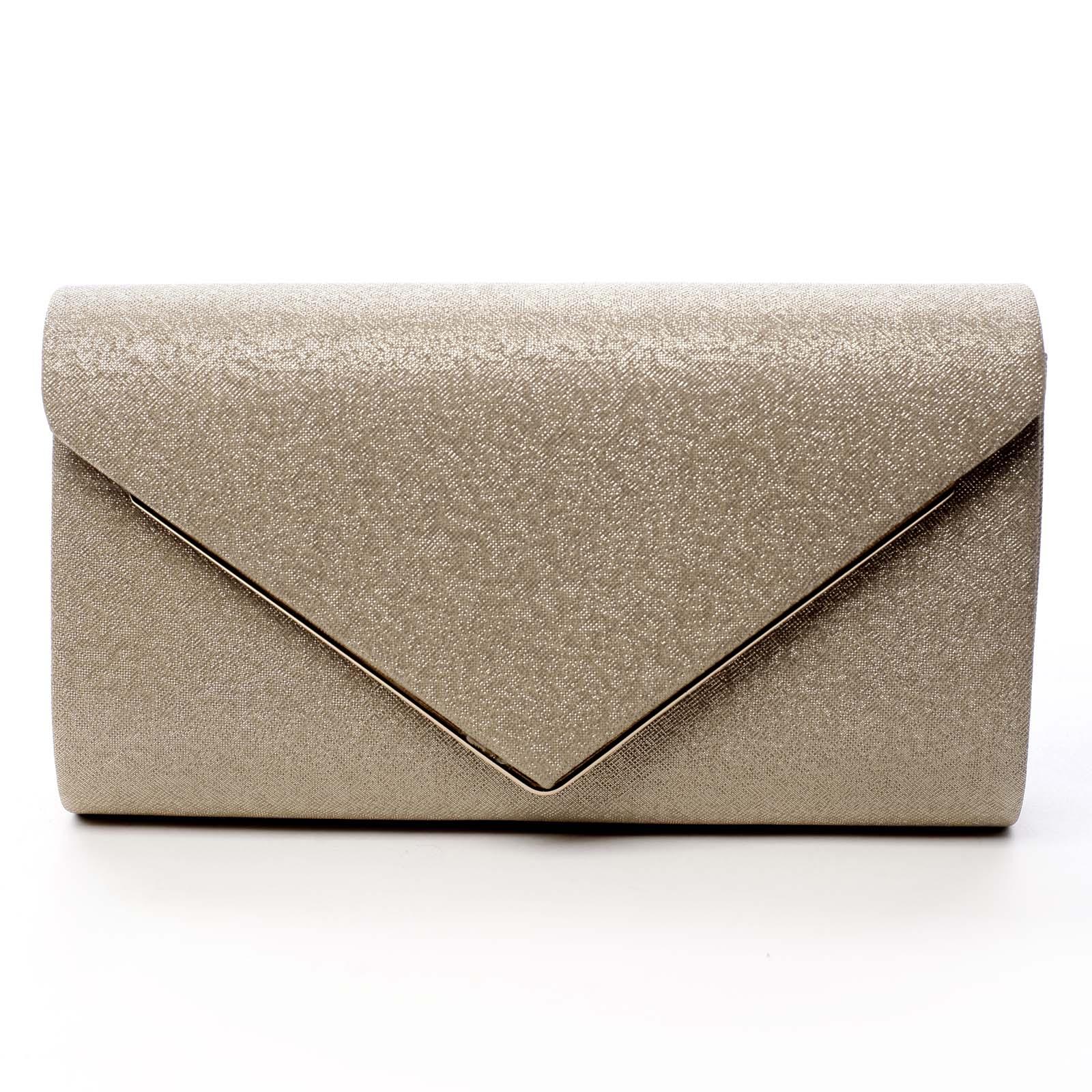 Dámska listová kabelka trblietavá zlatá - Michelle Moon Aylien