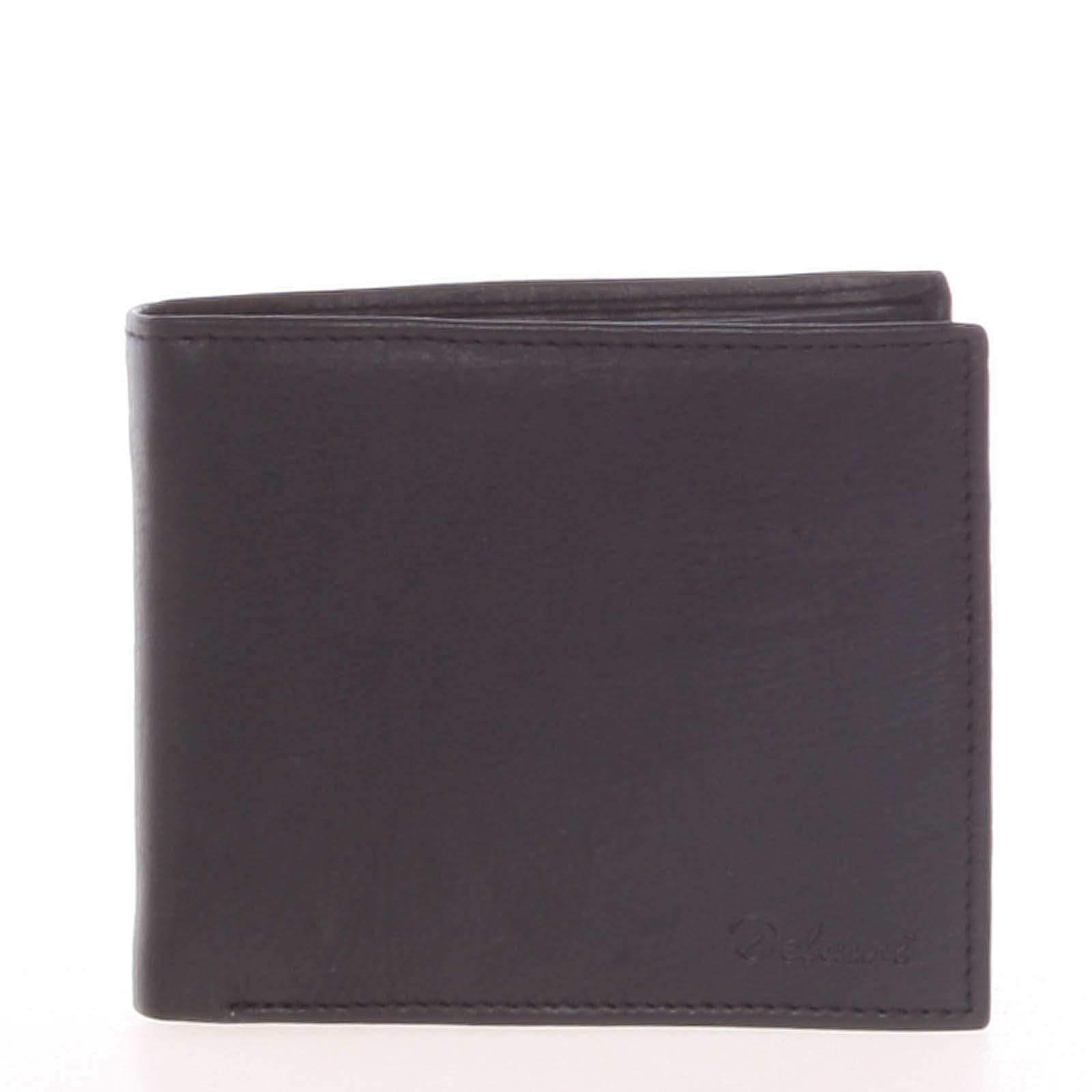 Pánska kožená voľná čierna peňaženka - Delami 8222