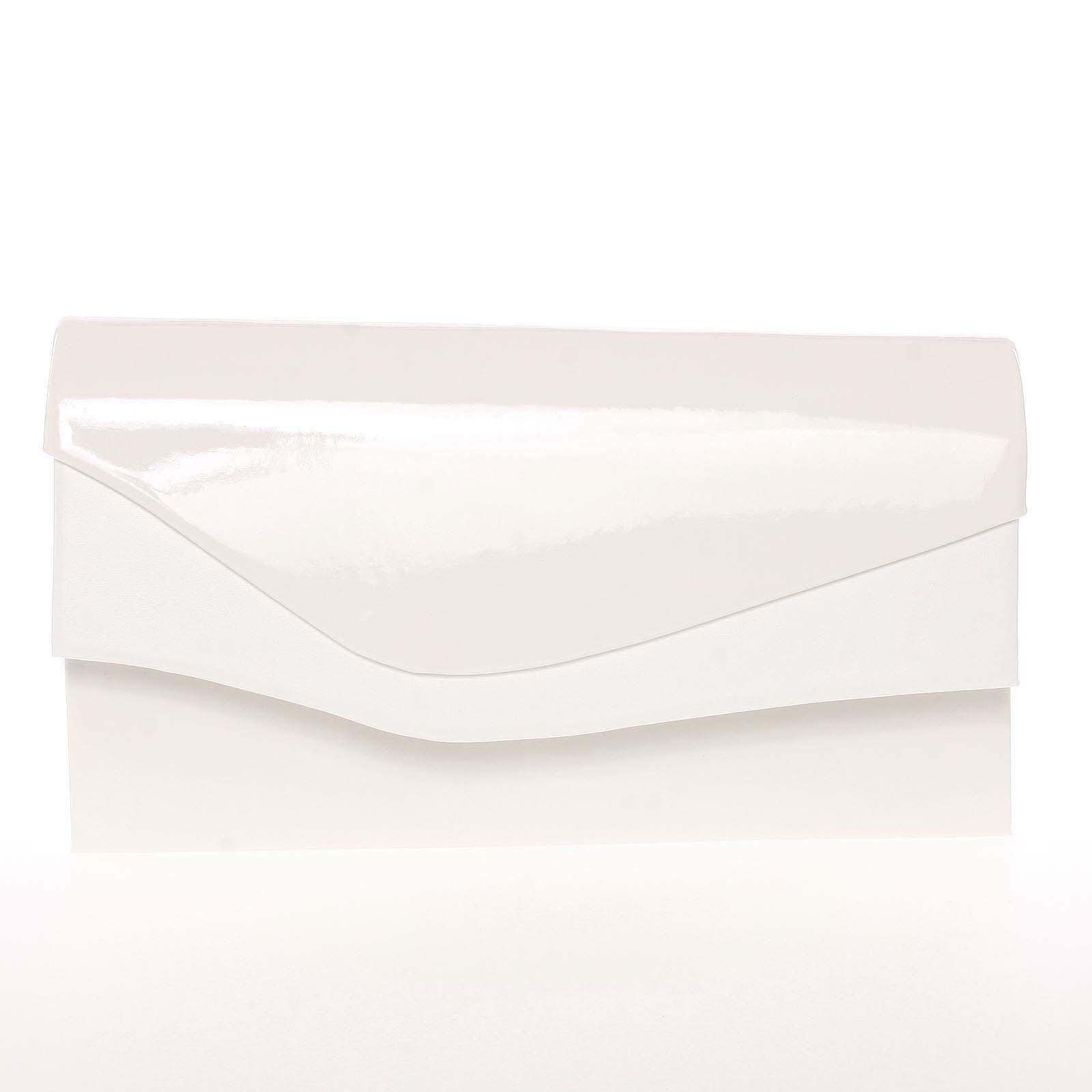 Dámska listová kabelka lakovaná biela - Delami Geelong