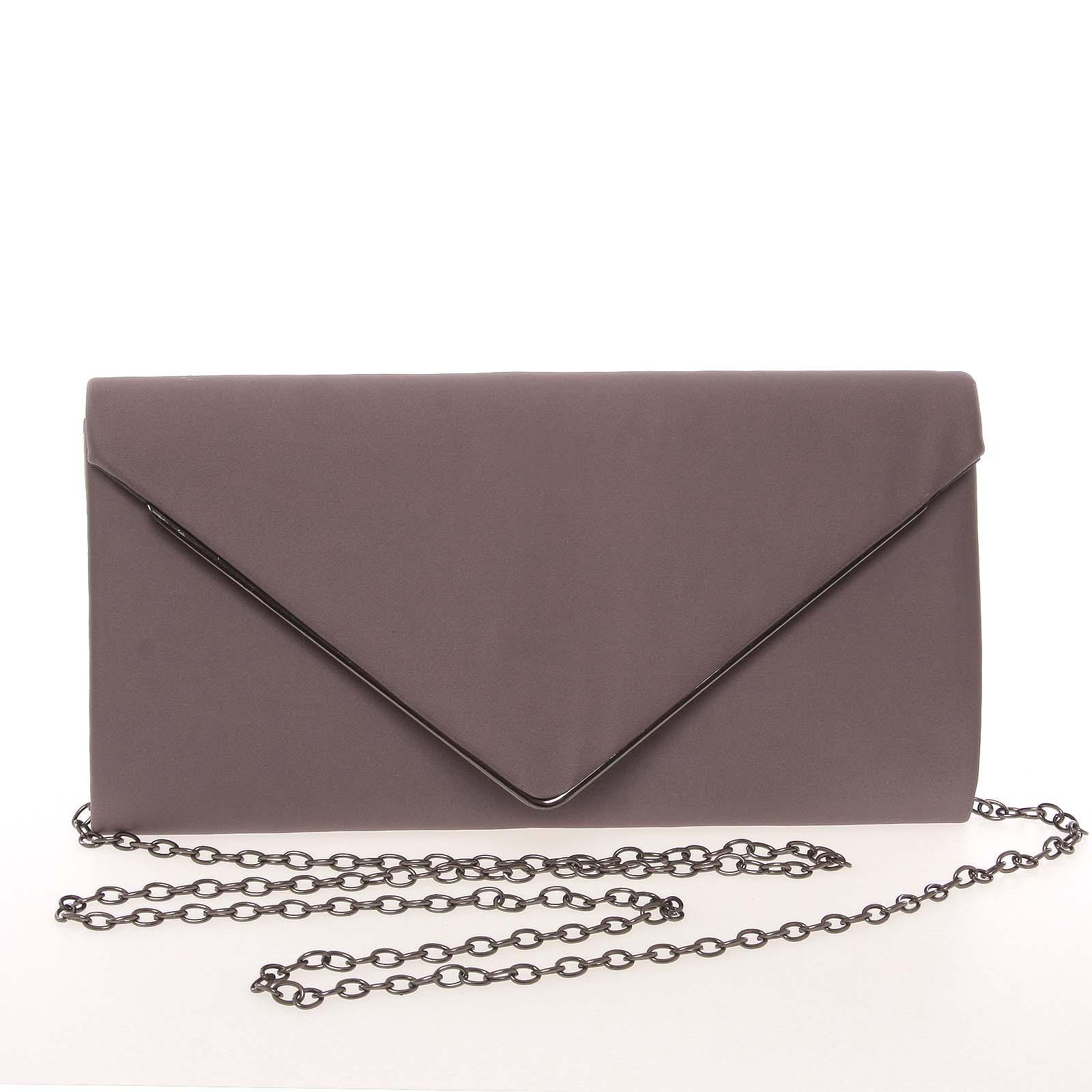 Moderná saténová dámska listová kabelka tmavosivá s glitterom - Delami D697