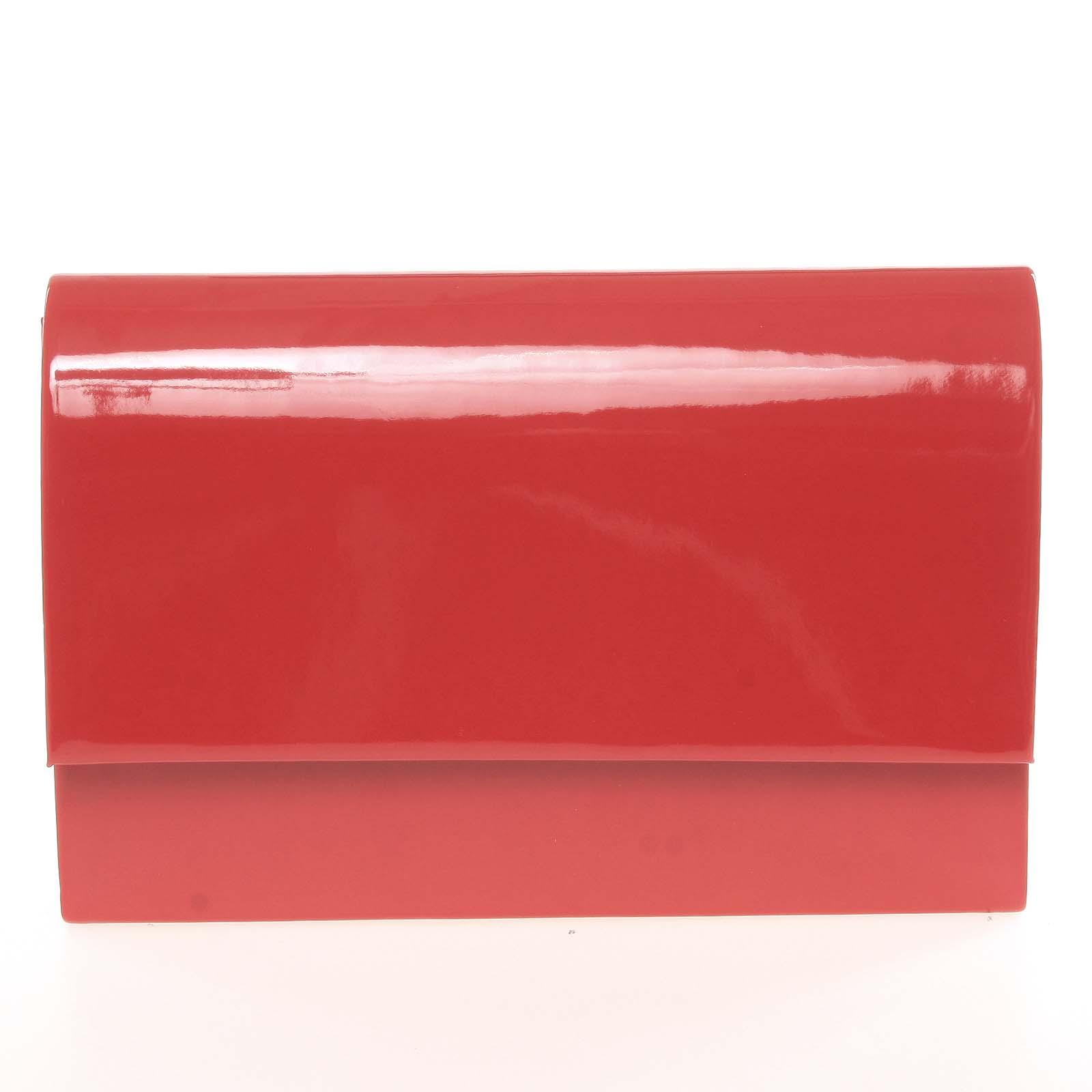 Štýlová dámska listová kabelka červená lesklá - Delami Boston
