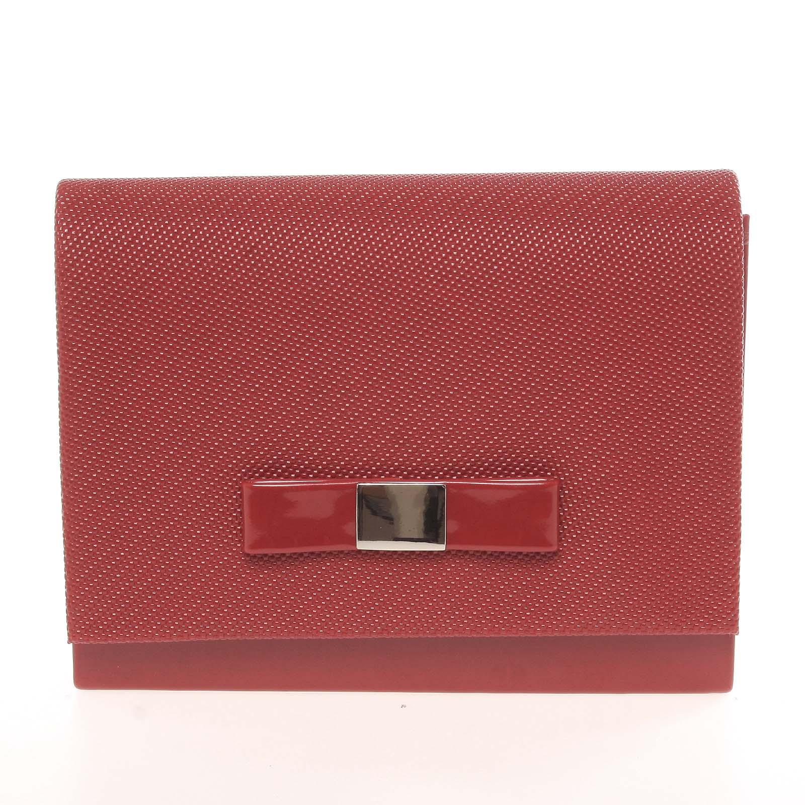 Luxusná dámska listová kabelka tmavočervená so vzorom lesklá - Delami Chicago Fresno
