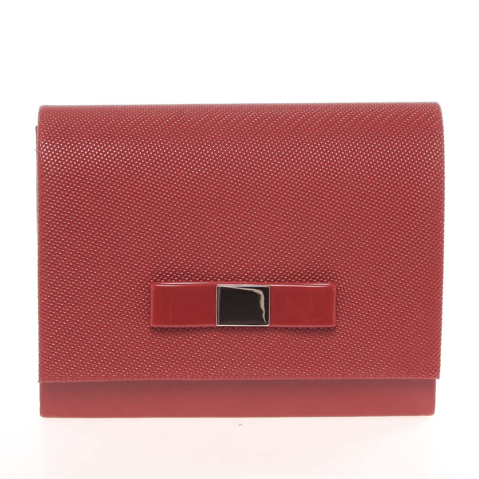 Luxusná dámska listová kabelka červená so vzorom lesklá - Delami Chicago Fresno