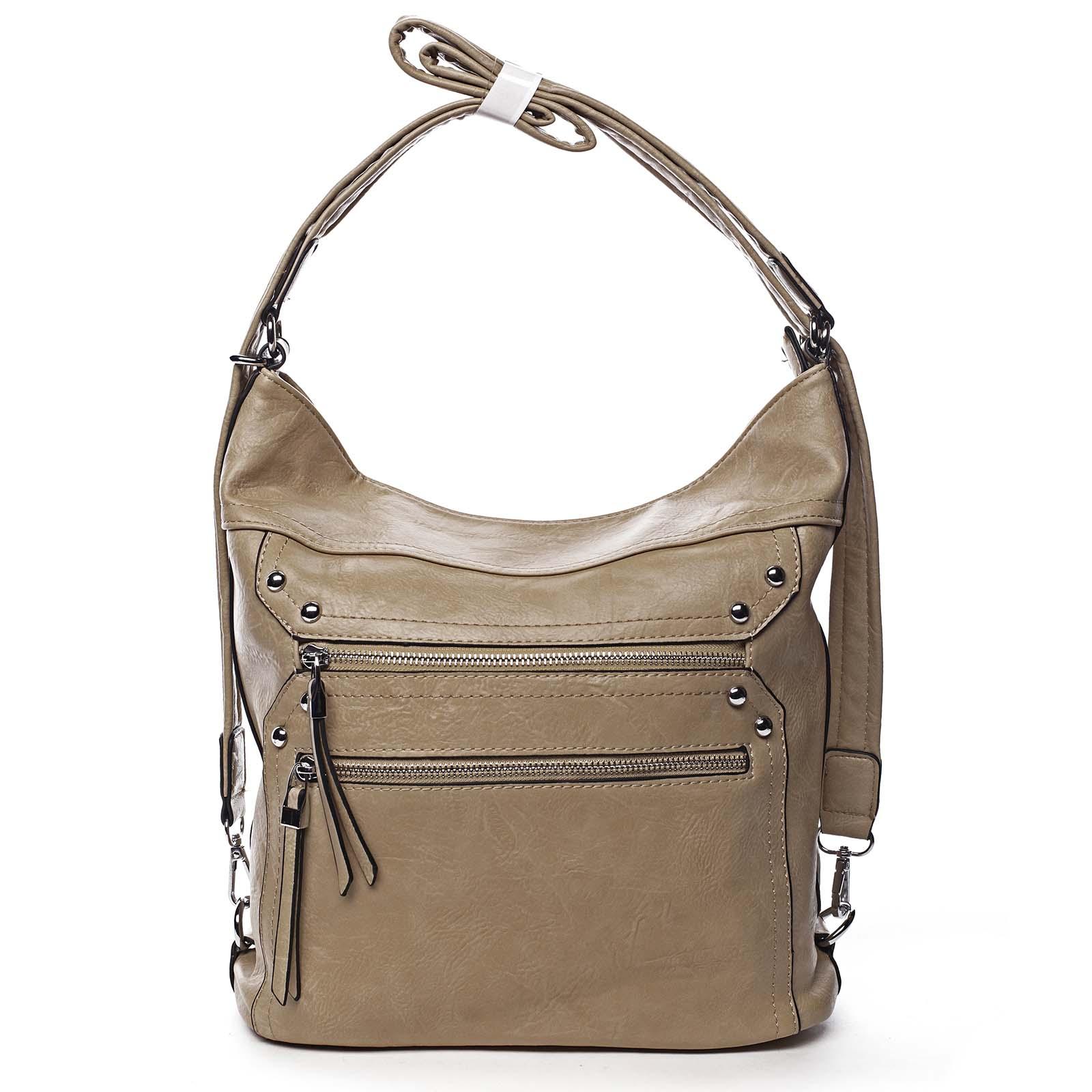 Dámska kabelka batoh tmavobéžová - Romina Alfa