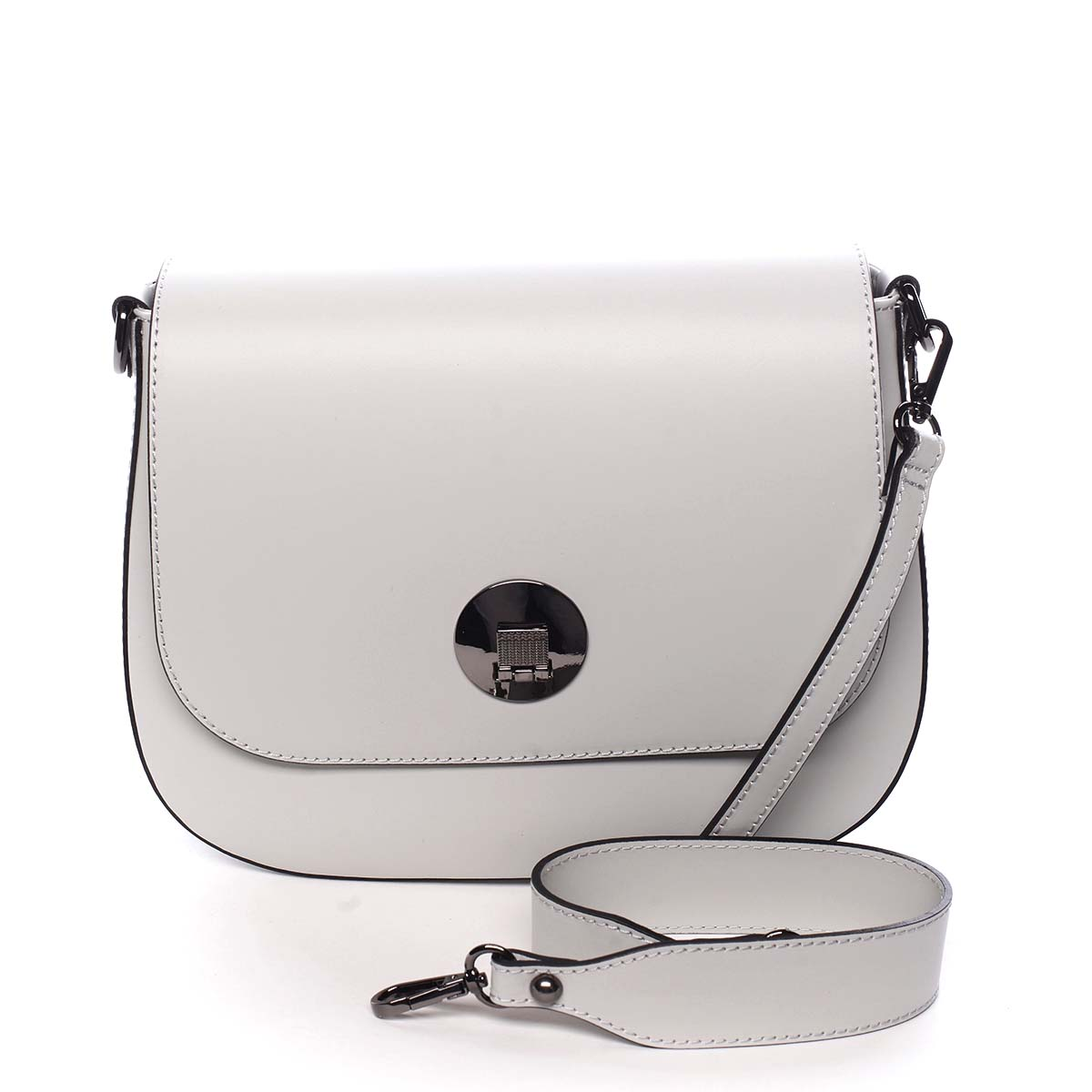 Dámska kožená kabelka svetlo šedá - ItalY Agustina