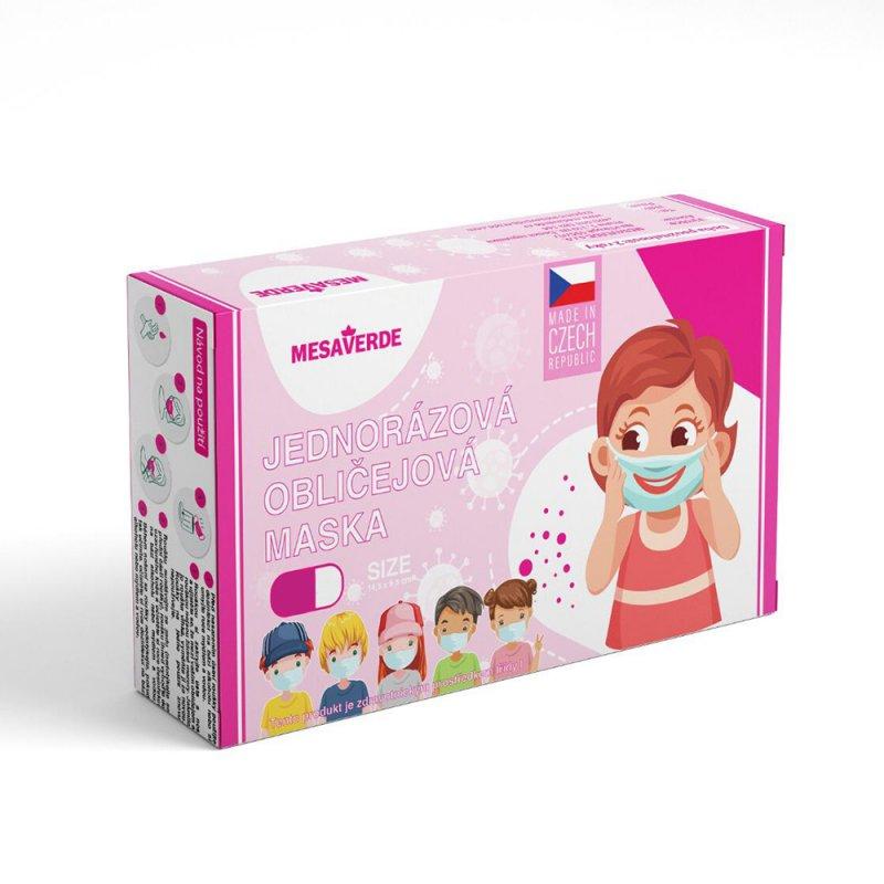 Jednorazové detské zdravotnícke rúško českej výroby 10ks - dievčatá