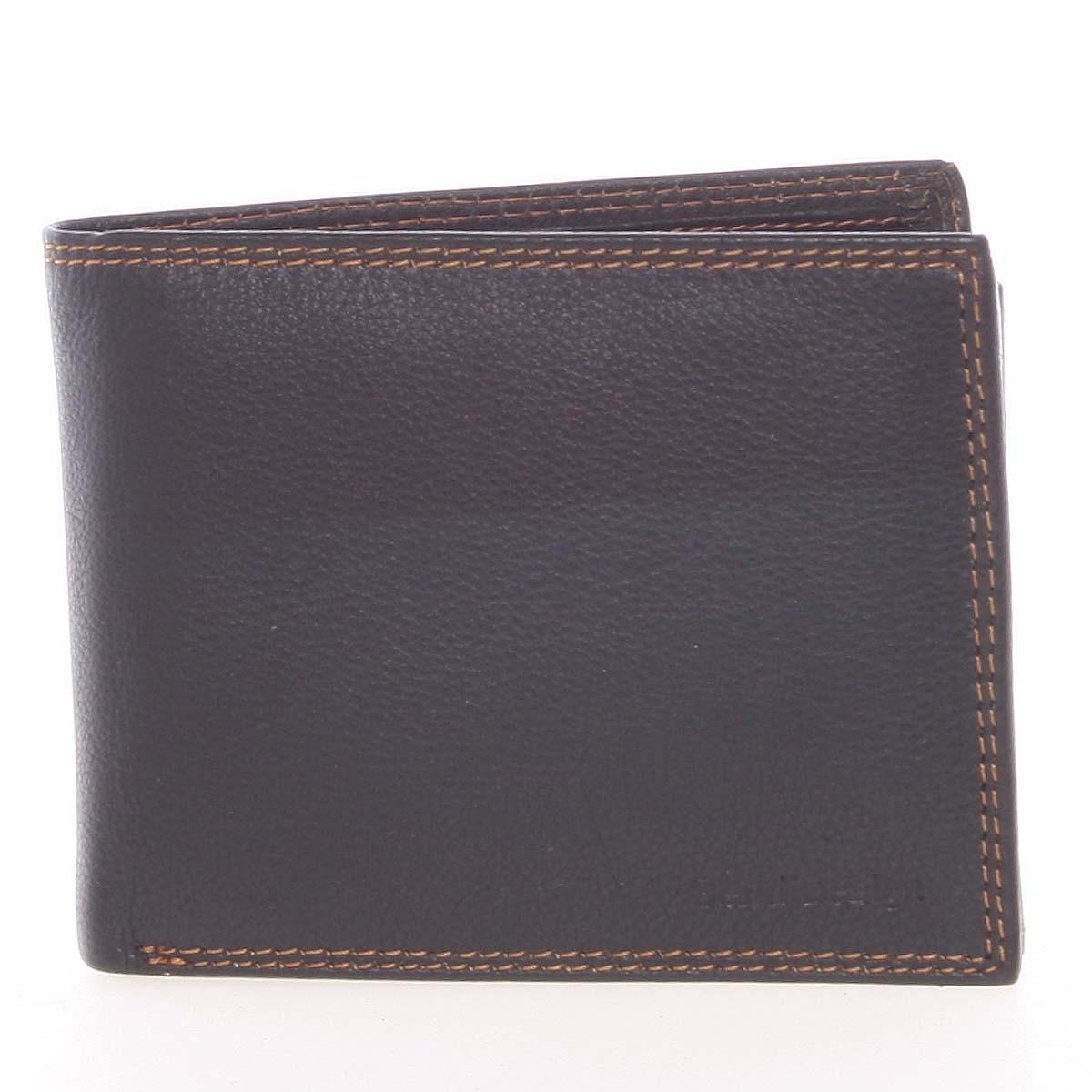 Kvalitná pánska kožená čierna voľná peňaženka - SendiDesign Sabastian