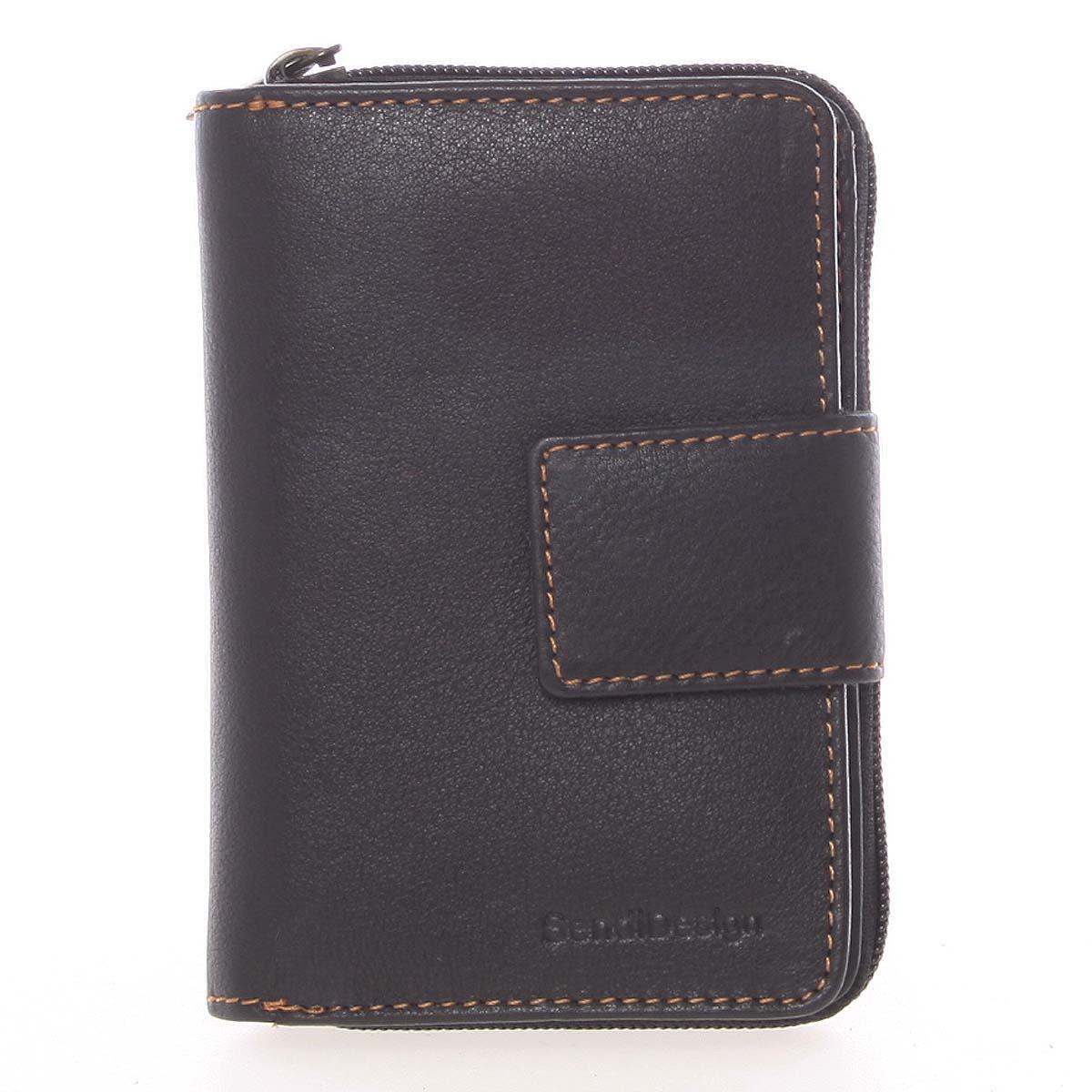 Kvalitná kožená dámska prešívaná peňaženka čierna - SendiDesign Reta
