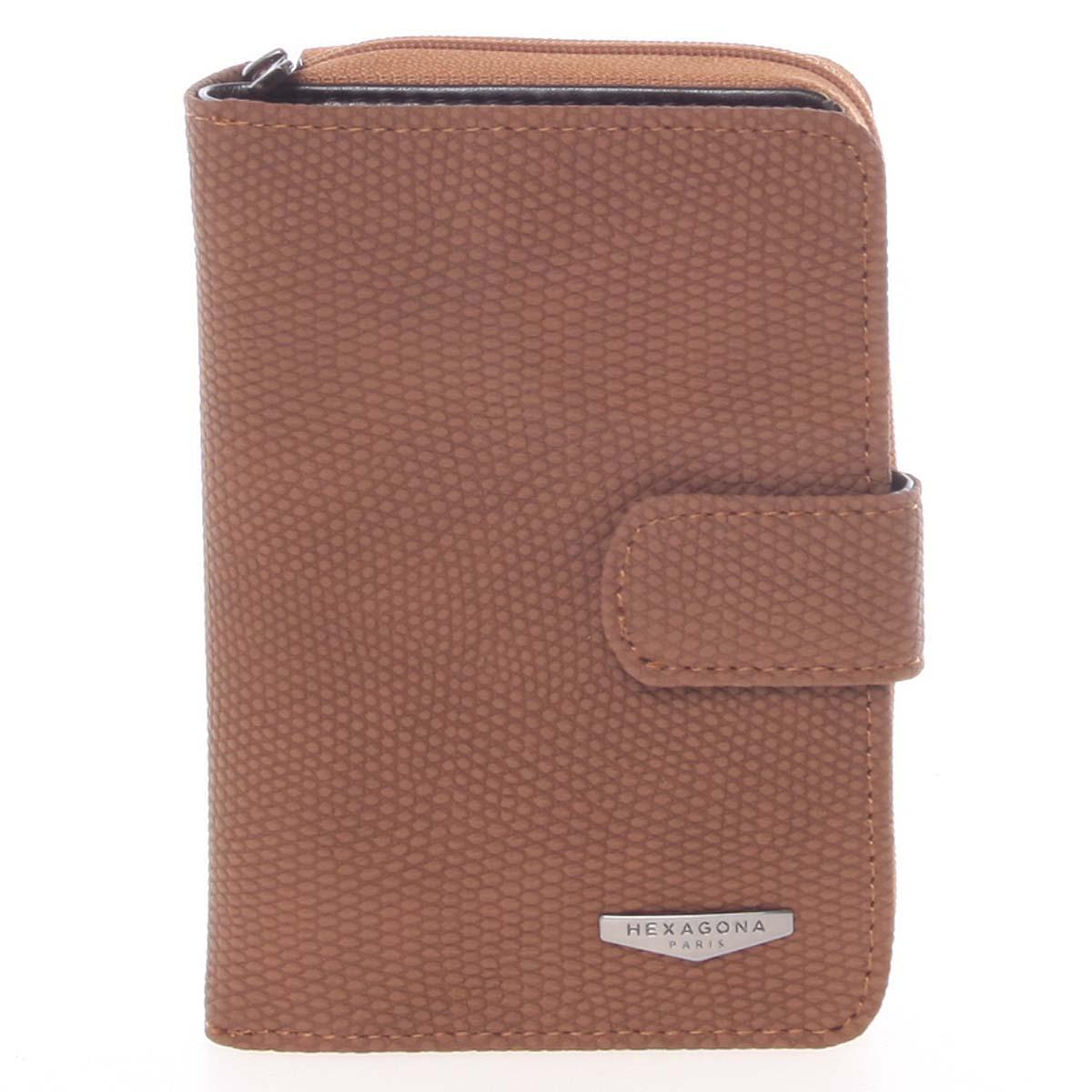 Originálna dámska dvojdielna hnedá peňaženka - HEXAGONA Reezzi