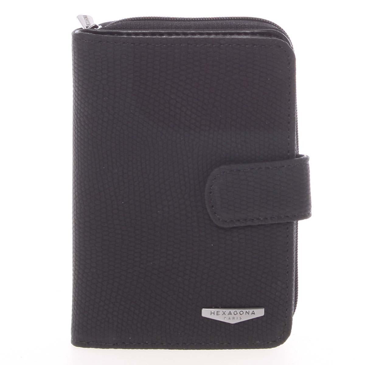 Originálna dámska dvojdielna čierna peňaženka - HEXAGONA Reezzi