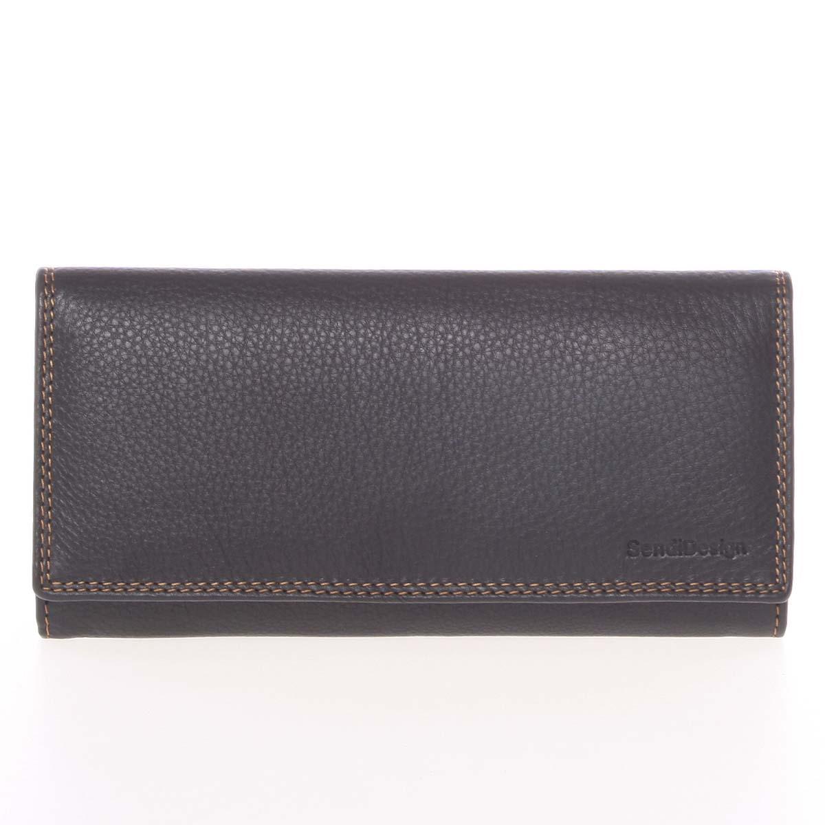 Veľká dámska čierna kožená prešívaná peňaženka - SendiDesign Phylis