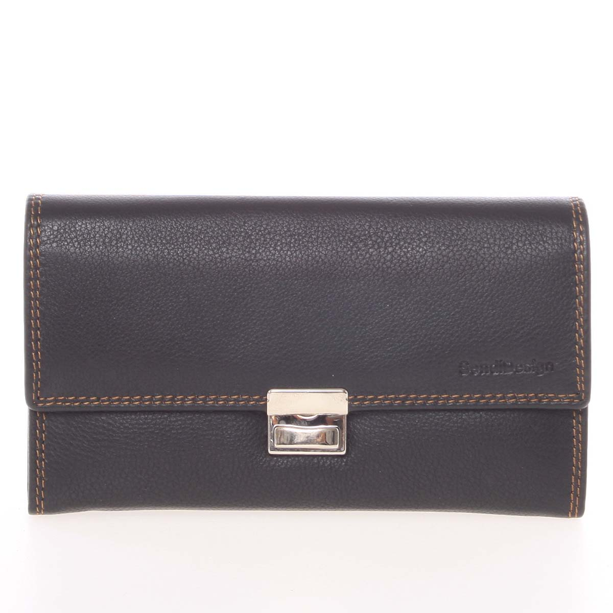 Luxusná veľká kožená prešívaná kasírtaška čierna - SendiDesign Basilea
