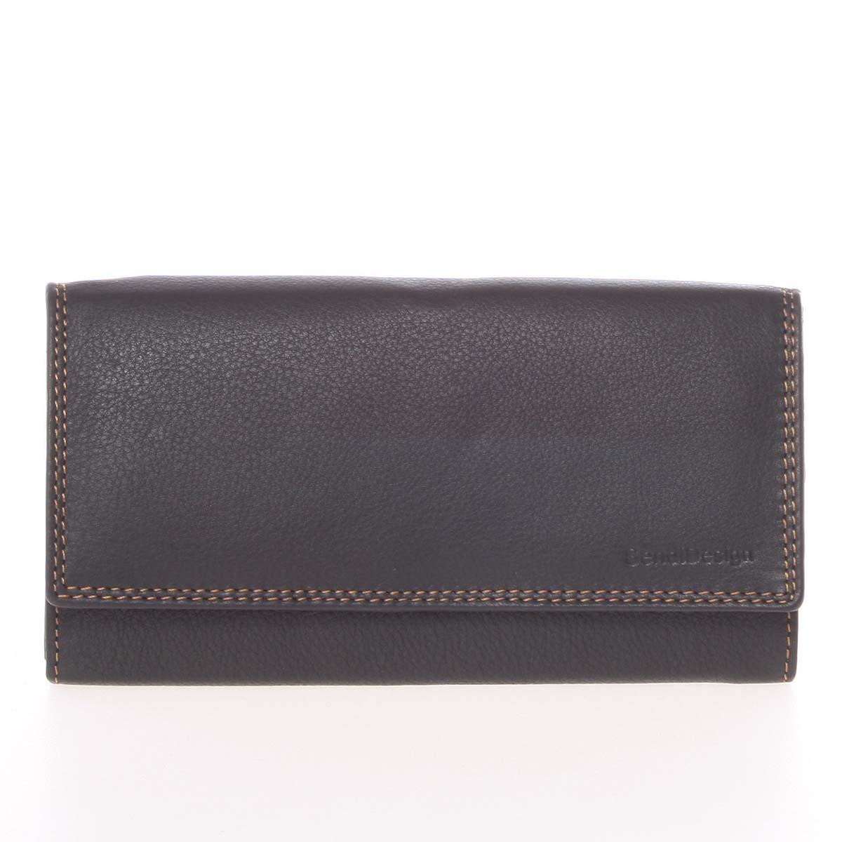 Dámska čierna kožená prešívaná peňaženka - SendiDesign Phoibe
