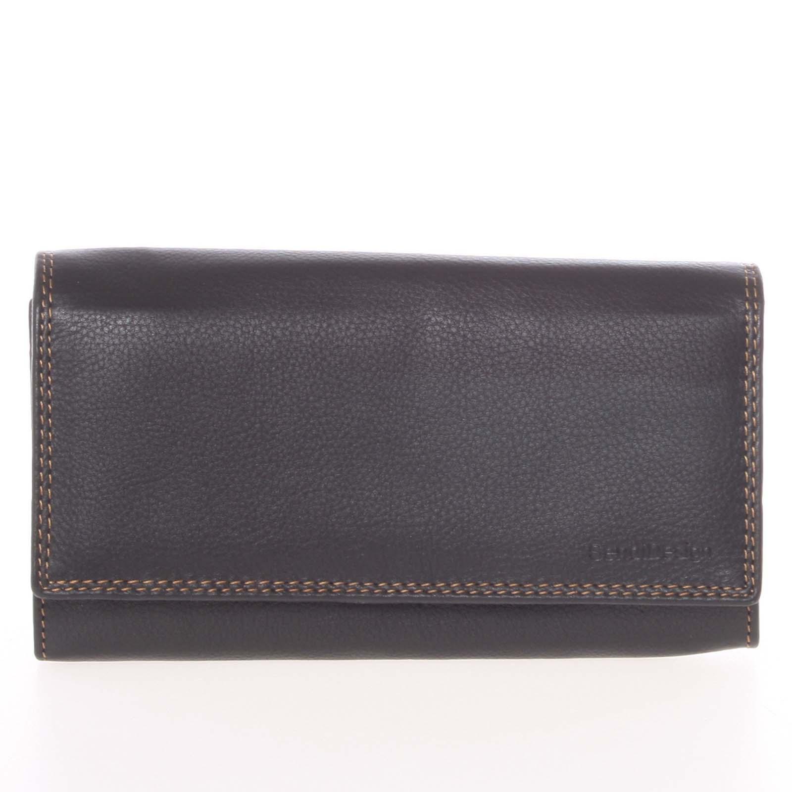 Dámska čierna kožená prešívaná peňaženka - SendiDesign Philyra