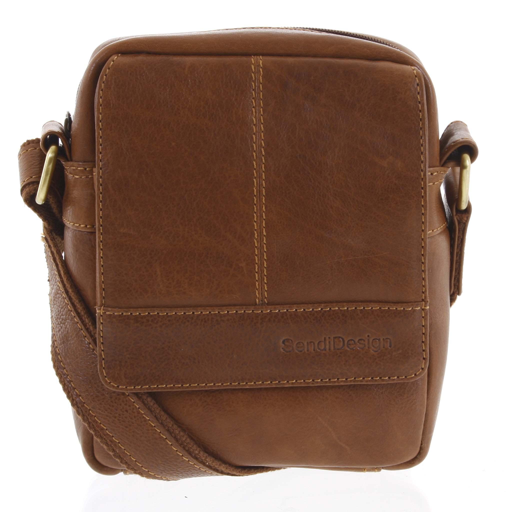 Pánska kožená crossbody taška na doklady hnedá - SendiDesign Niall