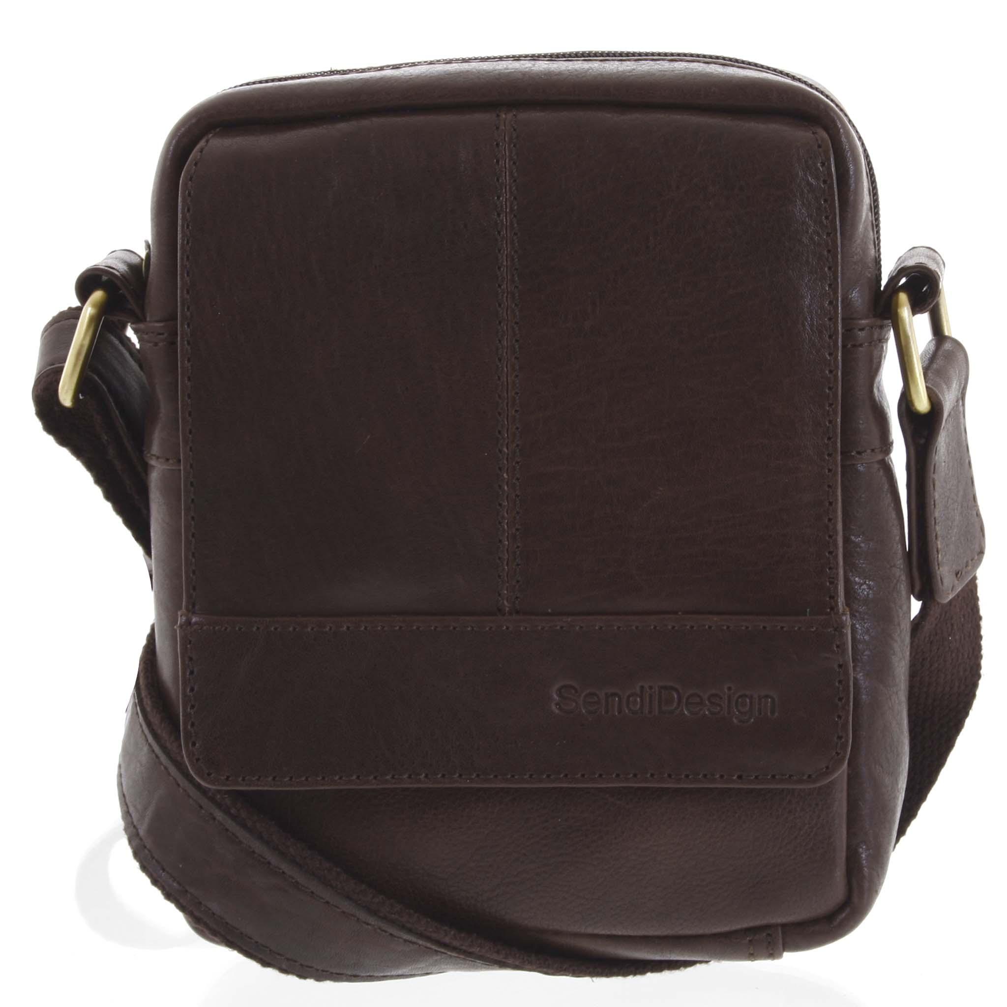 Pánska kožená crossbody taška na doklady tmavo hnedá - SendiDesign Niall