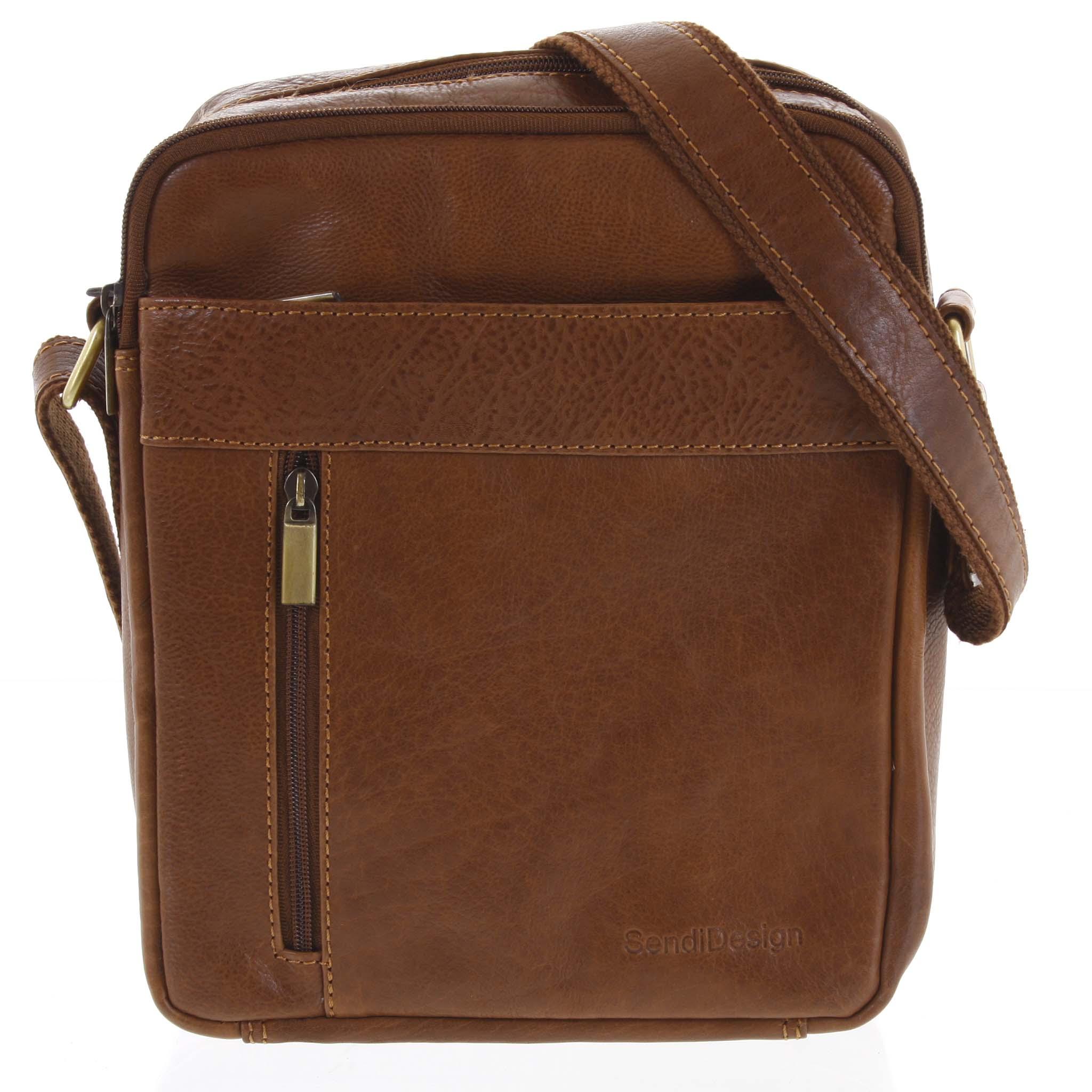 Pánska kožená taška cez plece hnedá - SendiDesign Lennon