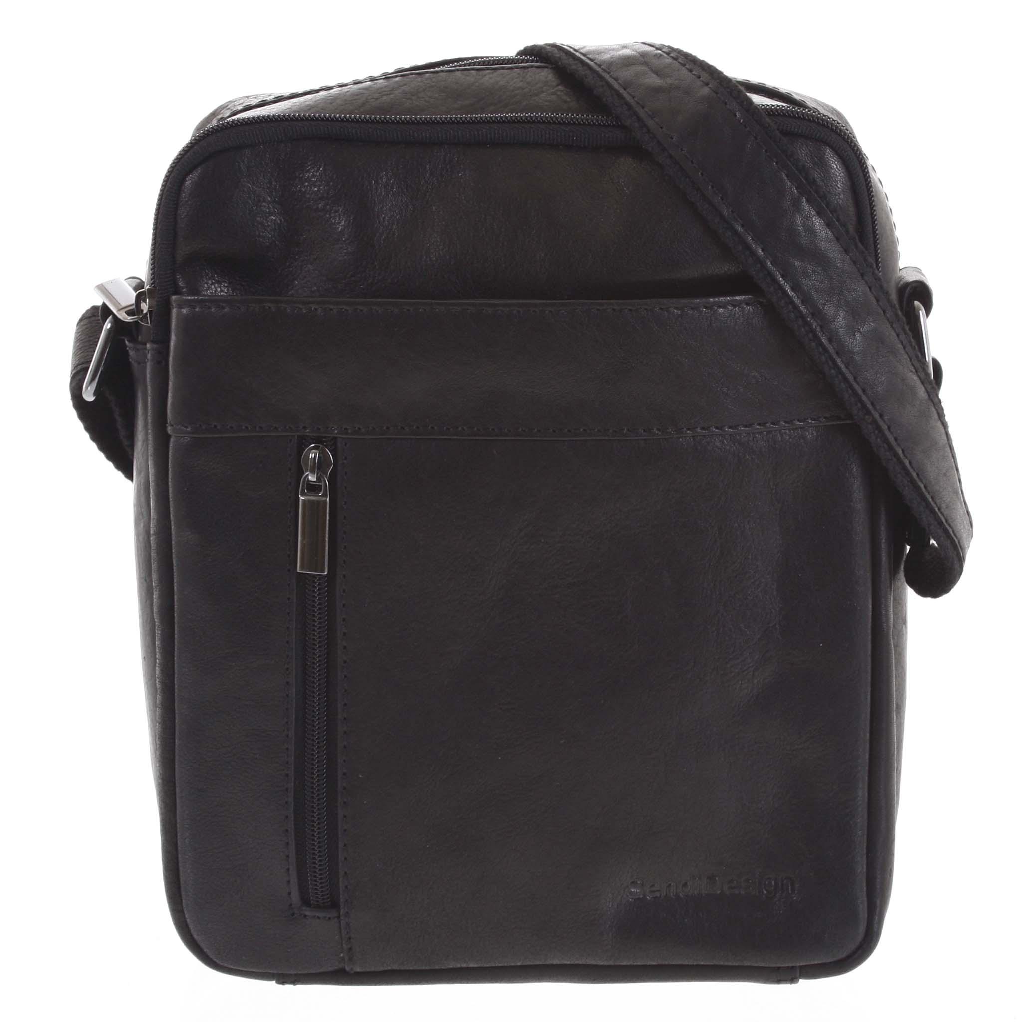 Pánska kožená taška cez plece čierna - SendiDesign Lennon
