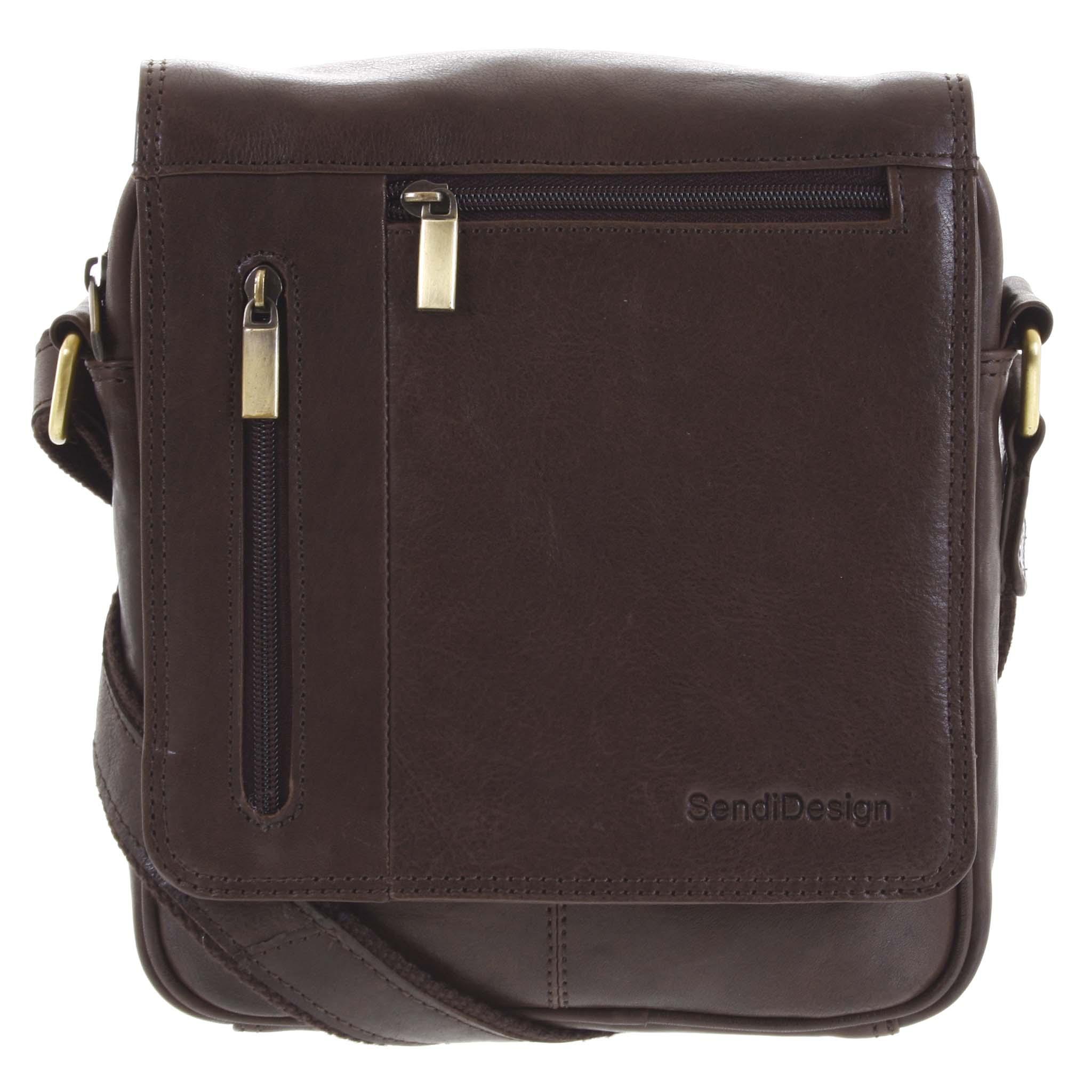 Pánska kožená taška cez plece tmavohnedá - SendiDesign Thoreau