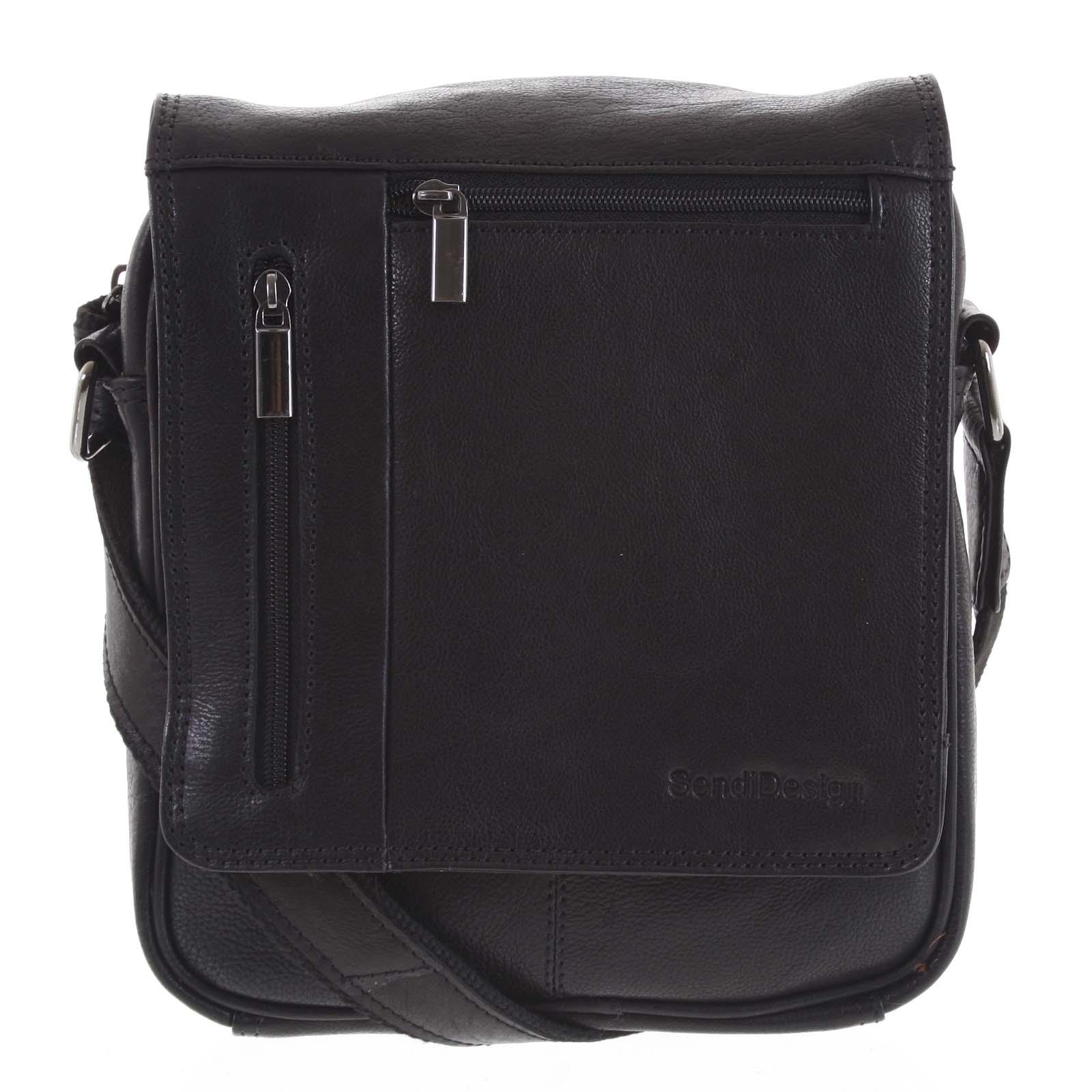 Pánska kožená taška cez plece čierna - SendiDesign Thoreau