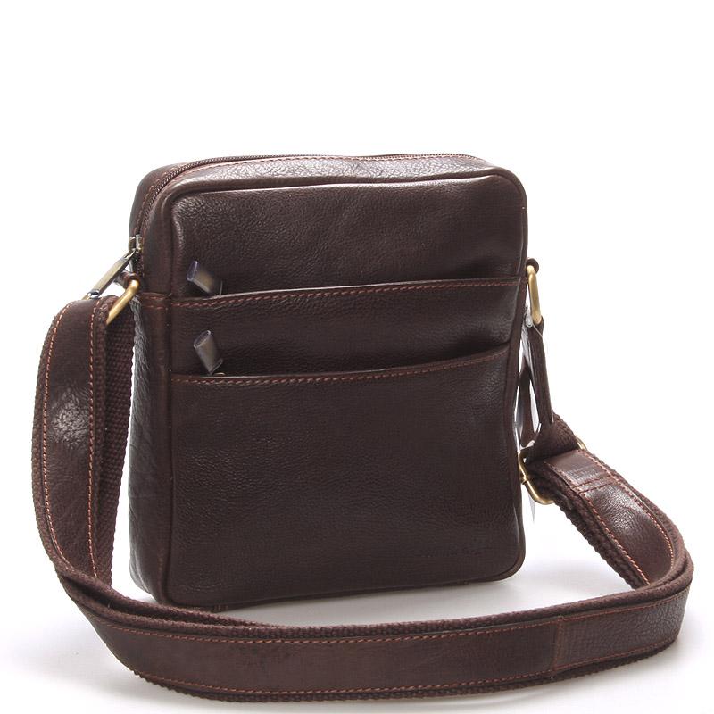 Módna pánska kožená taška na doklady cez plece hnedá - SendiDesign Lamar
