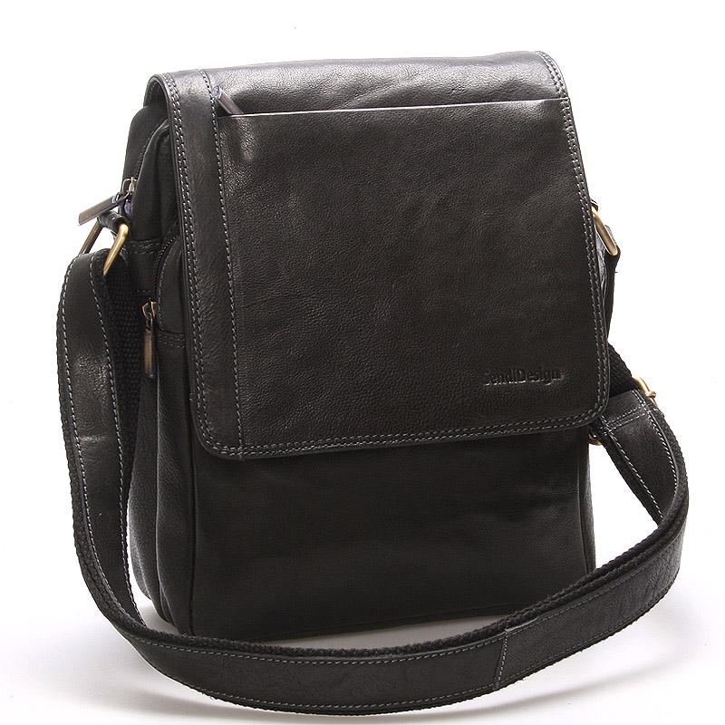 Módna pánska kožená taška cez plece čierna - SendiDesign Sage